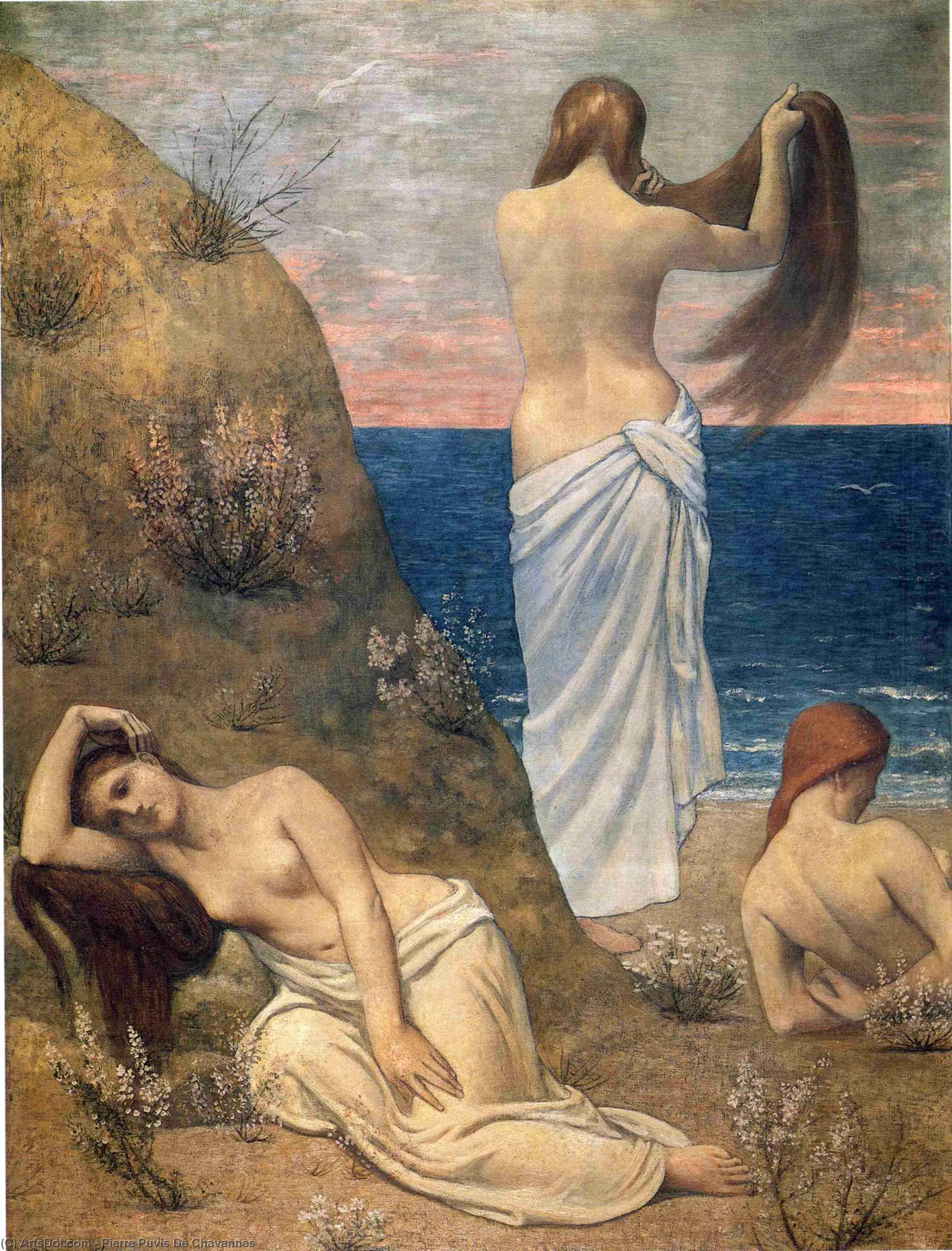 Young Girls at Seaside, Oil On Canvas by Pierre Puvis De Chavannes (1824-1898, France)