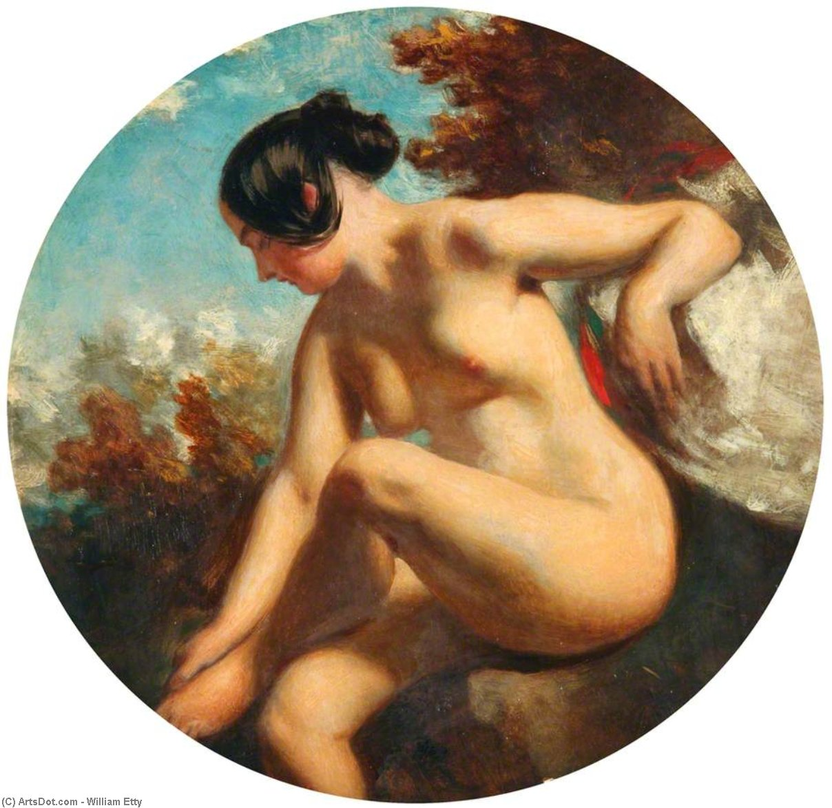 Bather Turned To The Left by William Etty (1787-1849, United Kingdom) | Painting Copy | ArtsDot.com