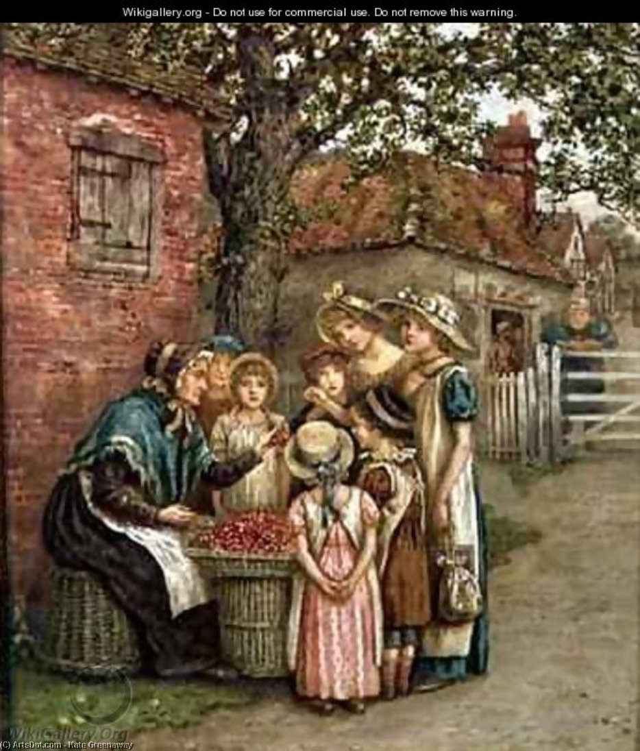 The Cherry Woman by Kate Greenaway (1846-1901, United Kingdom)