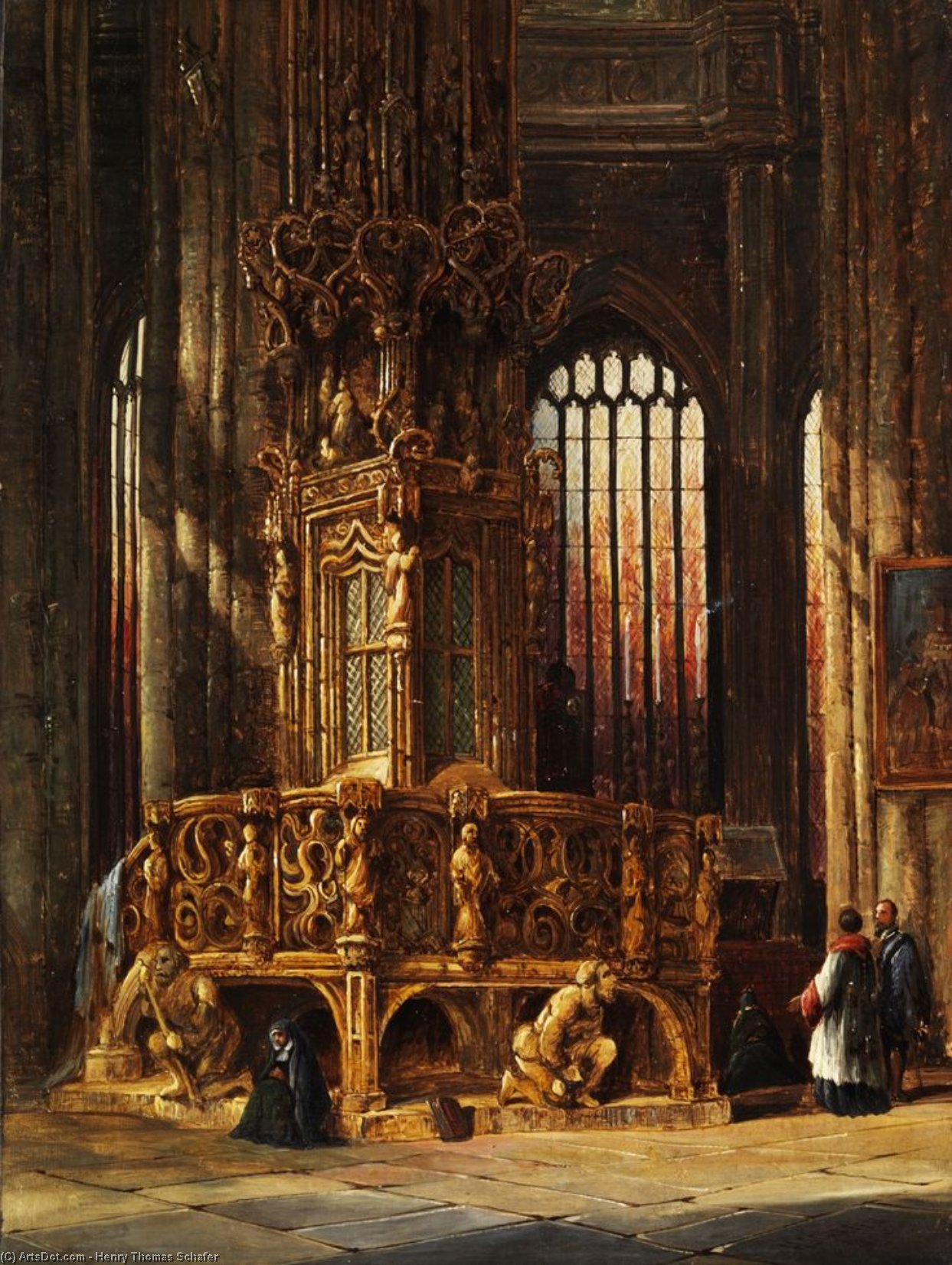 Interior Of St Lawrence Church Nuremberg Tabernacle by Henry Thomas Schafer (1873-1915, France)