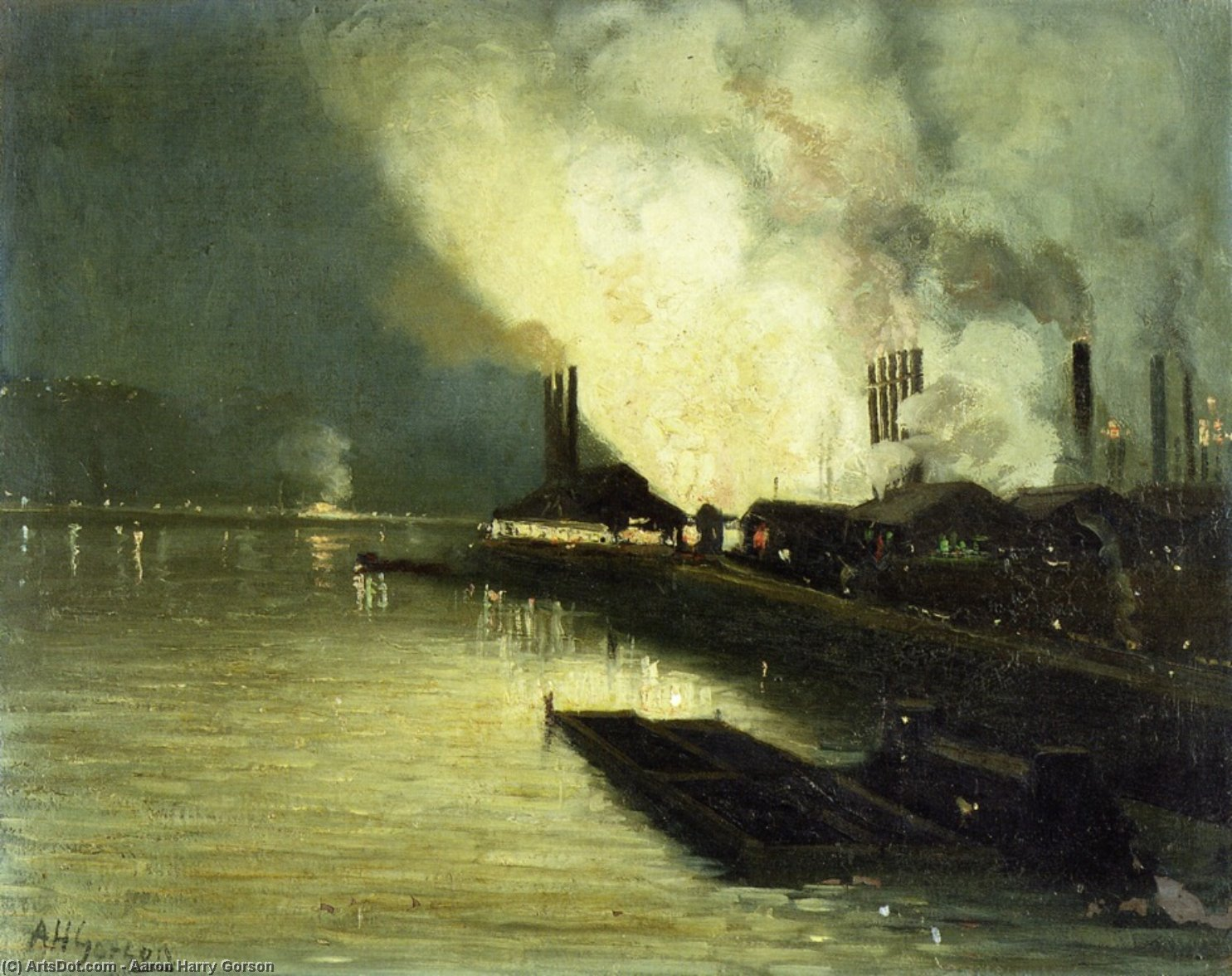 Factories At Night - by Aaron Harry Gorson (1872-1933, Lithuania) | ArtsDot.com