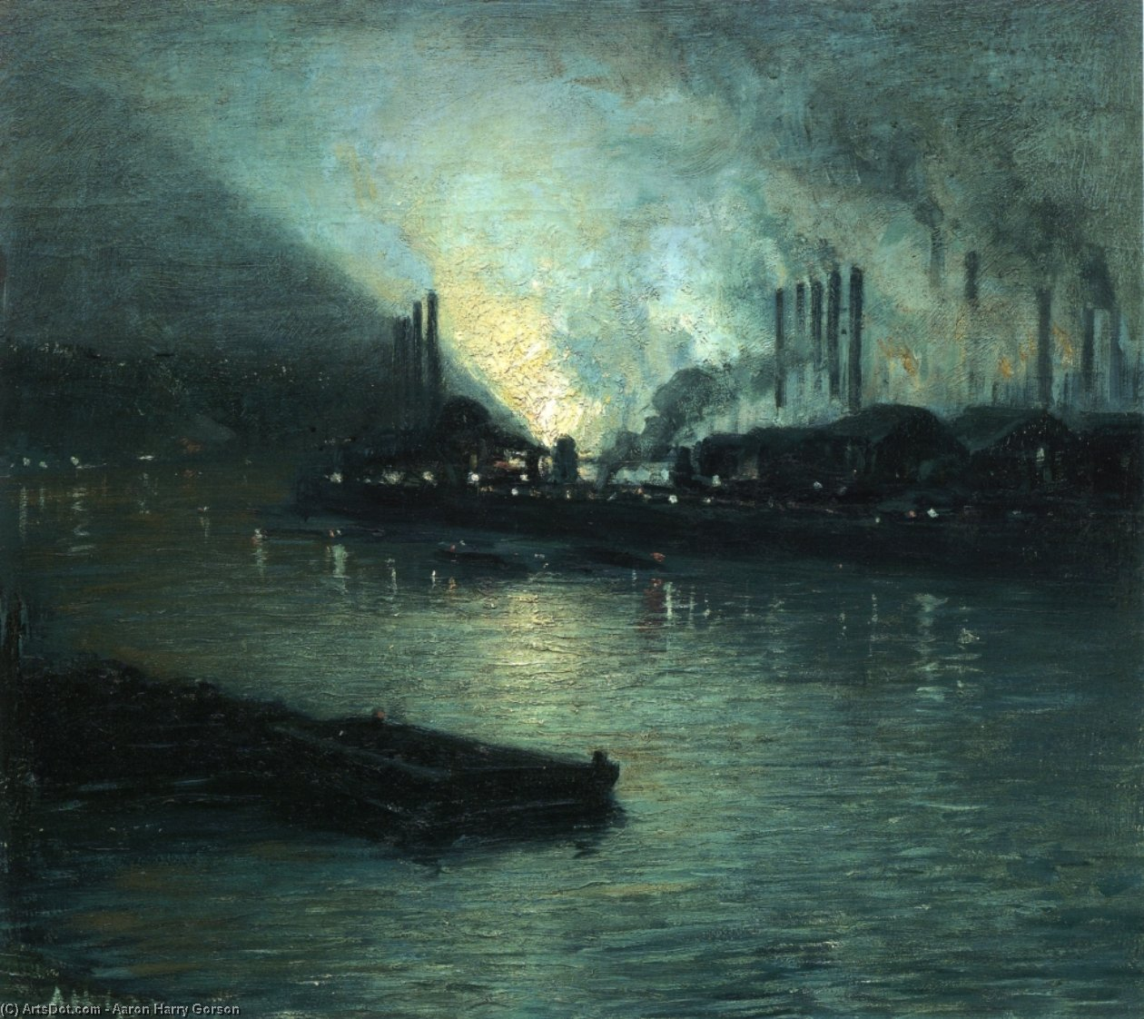 Pittsburgh Industrial Nocturne by Aaron Harry Gorson (1872-1933, Lithuania)