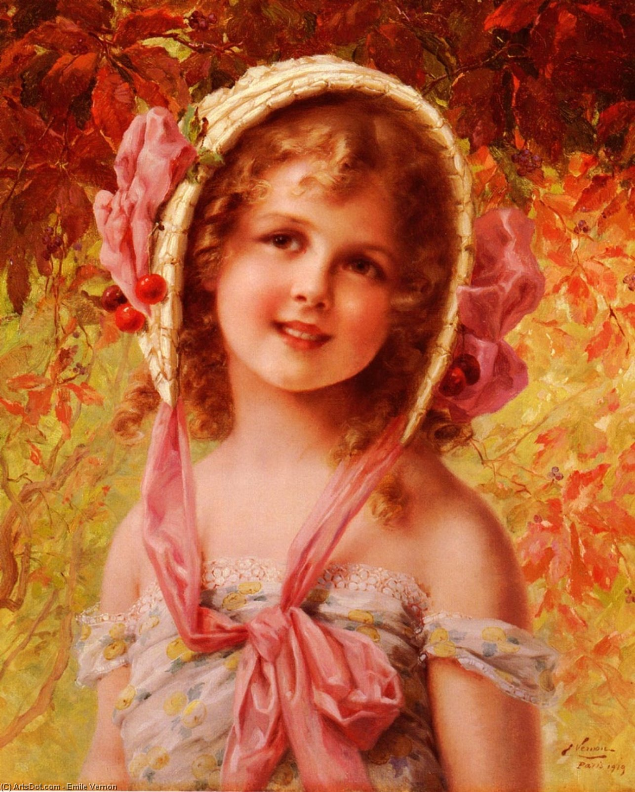 The Cherry Bonnet by Emile Vernon (1872-1920, France) | ArtsDot.com