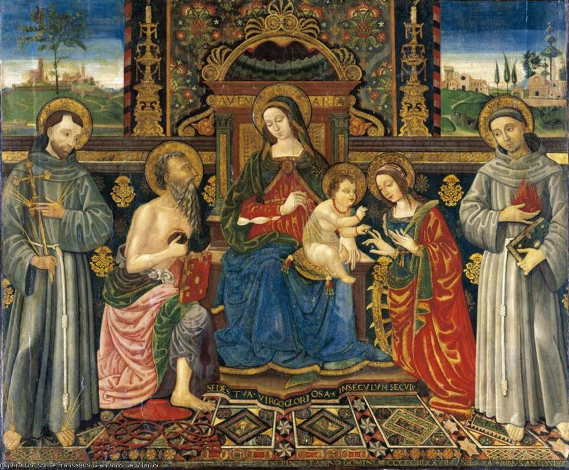 Madonna And Child Enthroned With Saints by Francesco D'antonio Da Viterbo  (order Fine Art oil painting Francesco D'antonio Da Viterbo)