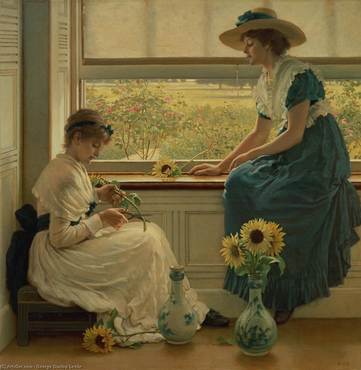 Sun And Moon Flowers by George Dunlop Leslie (1835-1921, United Kingdom) | Museum Art Reproductions | ArtsDot.com