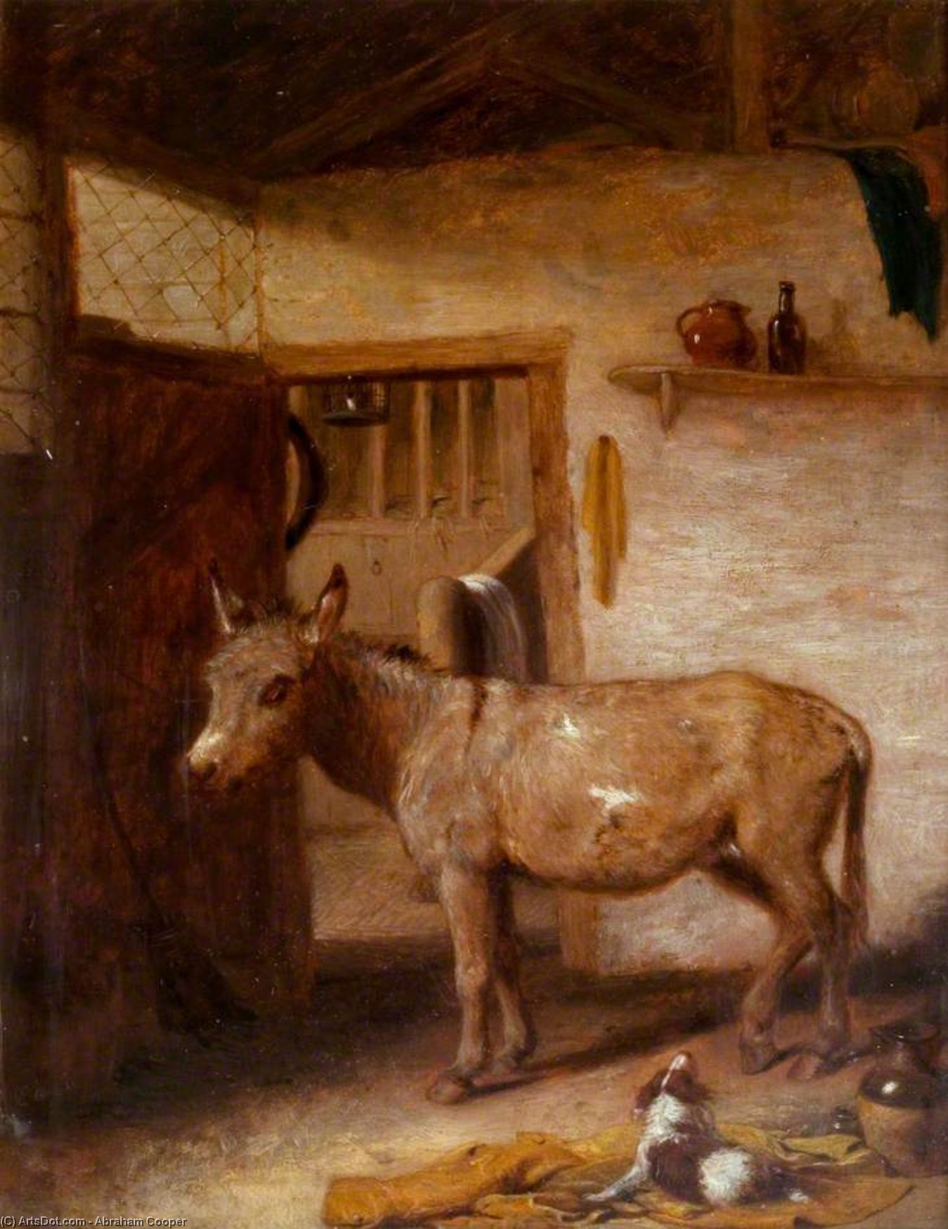 A Donkey And A Spaniel In A Stable by Abraham Cooper (1787-1868, United Kingdom)