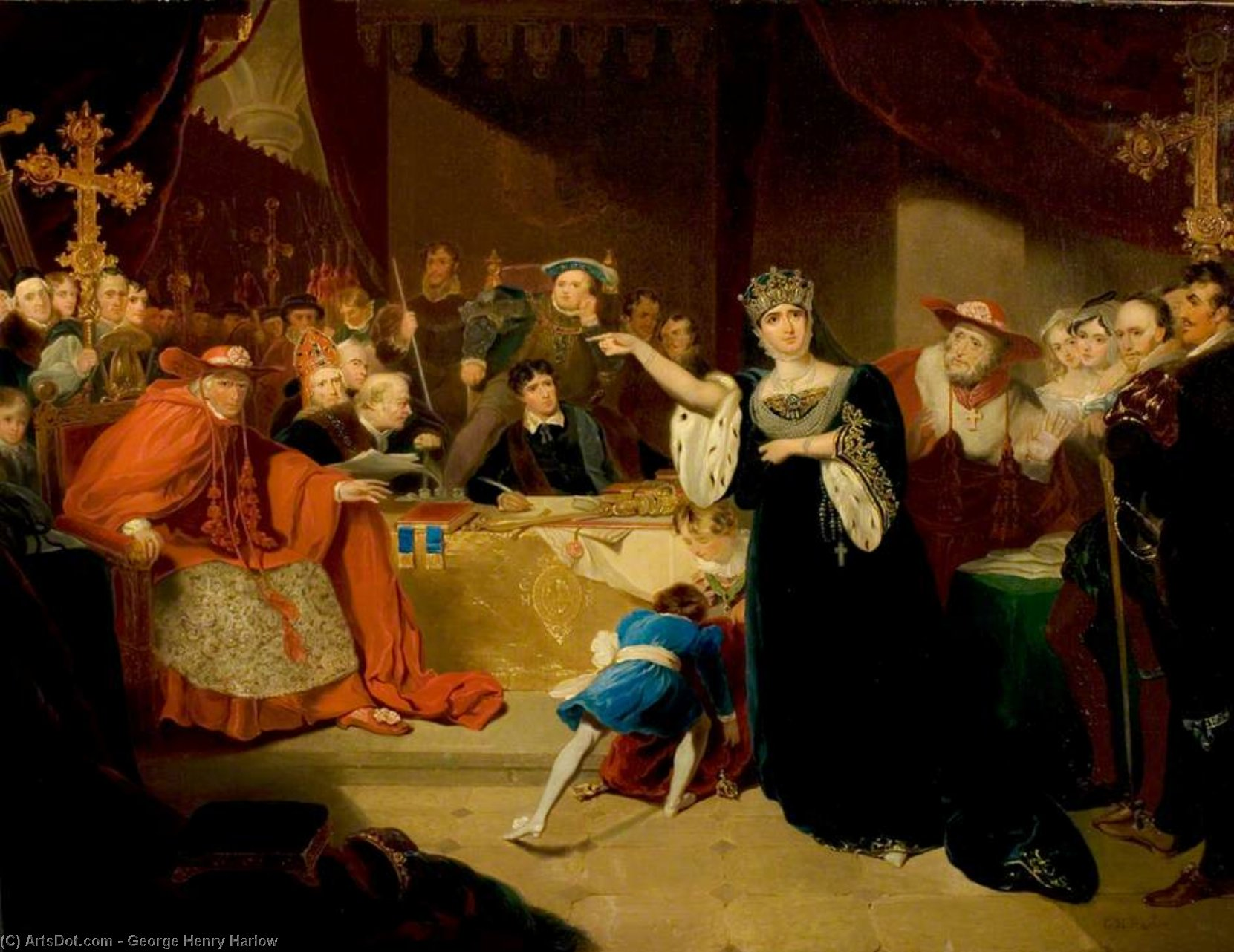 'henry Viii', Act Ii, Scene 5, The Trial Of Queen Katherine by George Henry Harlow (1787-1819, United Kingdom)