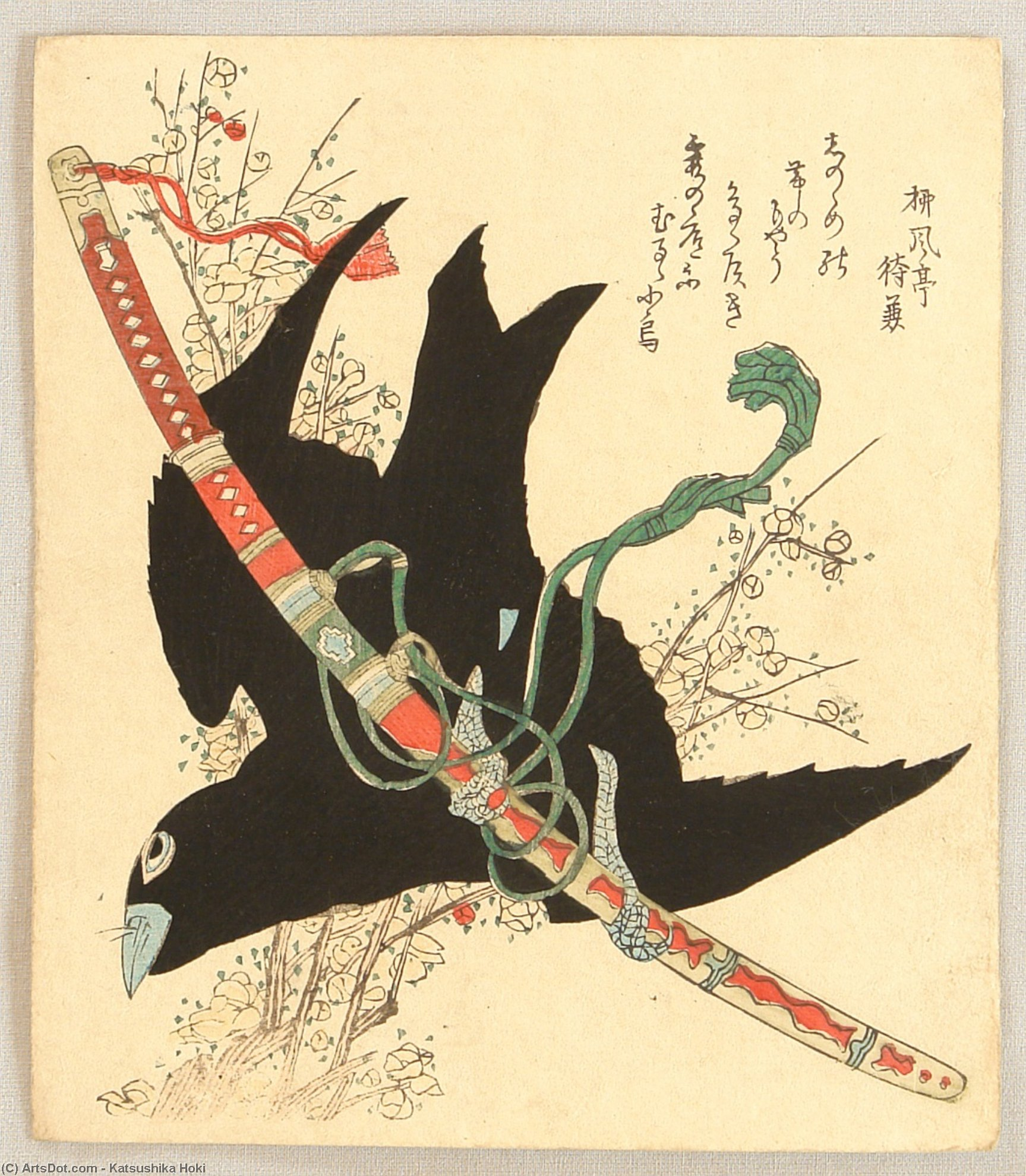 Crow And Sword by Katsushika Hokusai (1760-1849, Japan) | ArtsDot.com