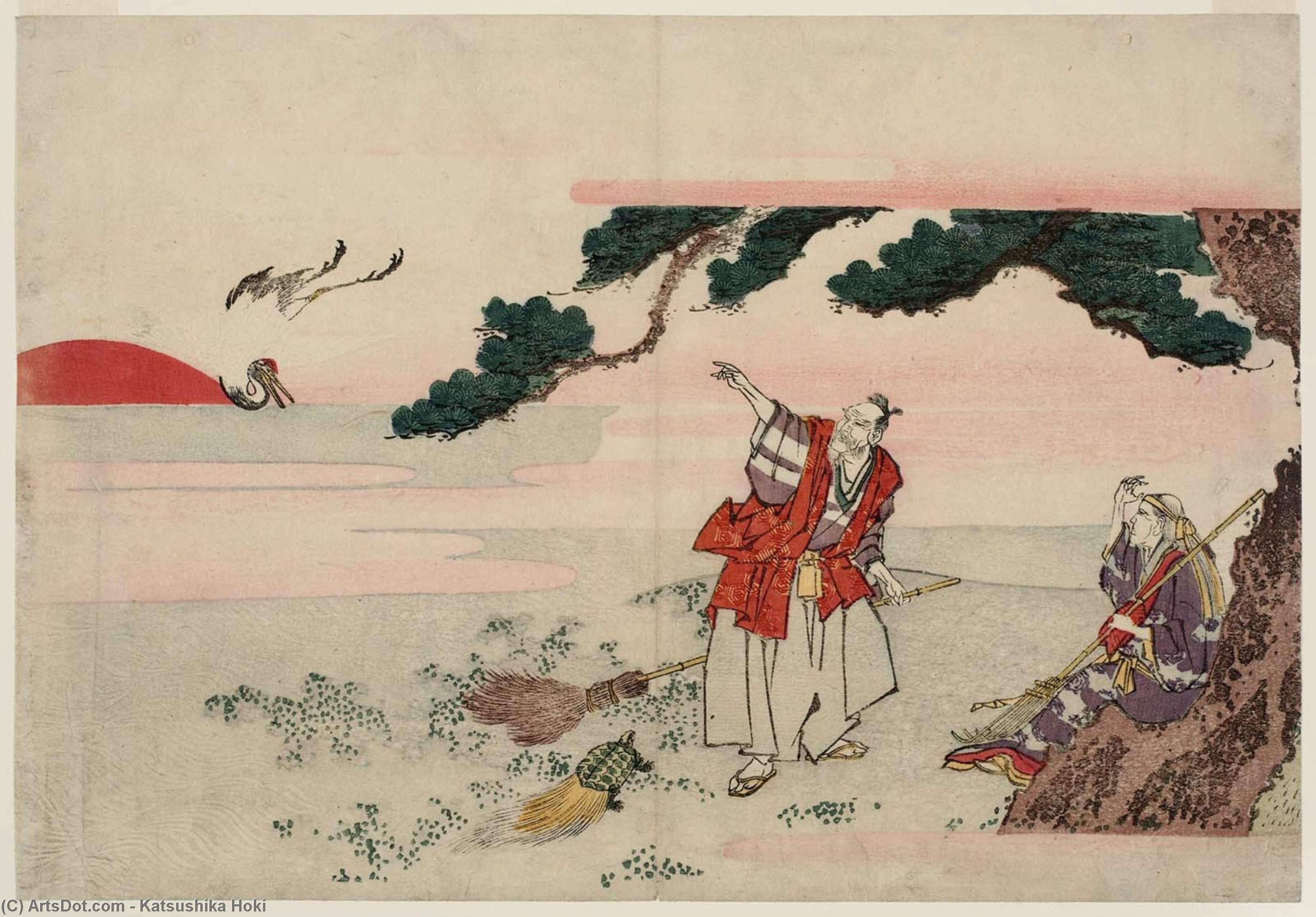 Jo And Uba, The Spirits Of The Pine Trees Of Takasago And Sumiyoshi by Katsushika Hokusai (1760-1849, Japan) | Painting Copy | ArtsDot.com