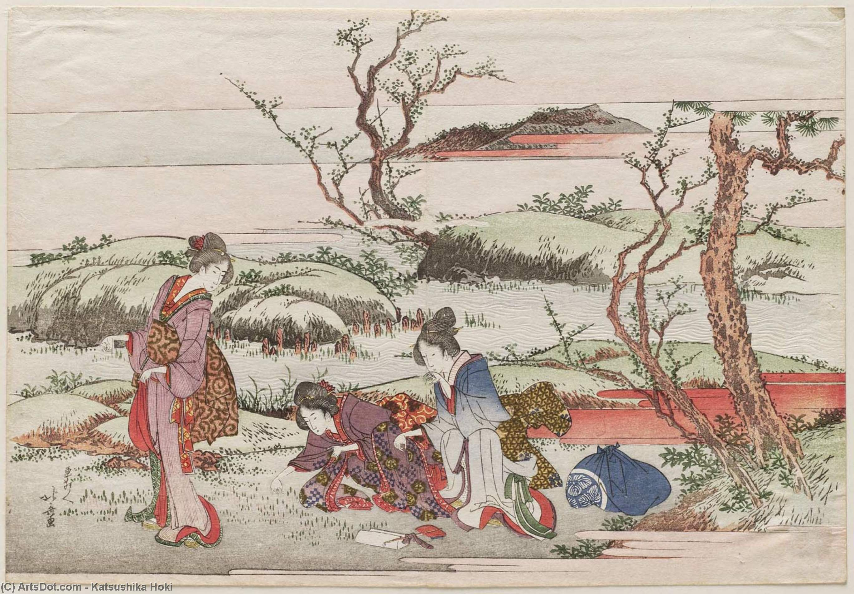 Picking Spring Flowers by Katsushika Hokusai (1760-1849, Japan) | Painting Copy | ArtsDot.com