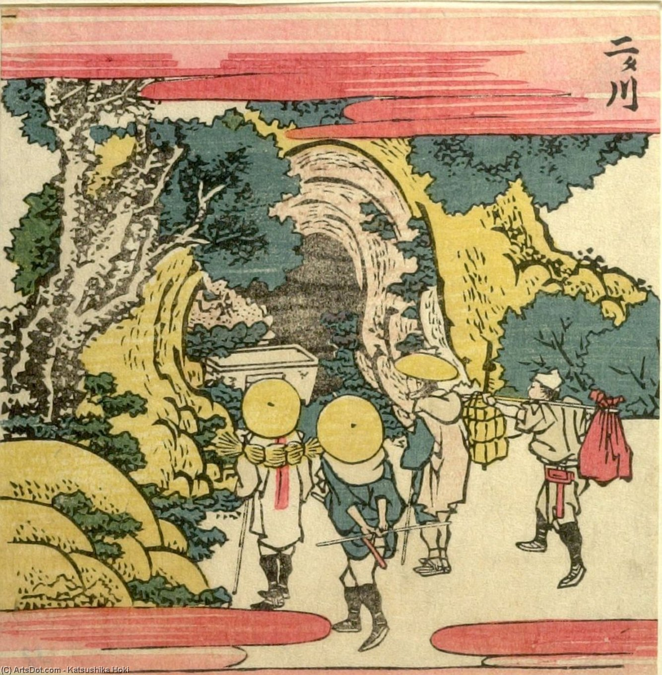 Pilgrim And Travelers Looking At A Cave Shrine by Katsushika Hokusai (1760-1849, Japan) | ArtsDot.com
