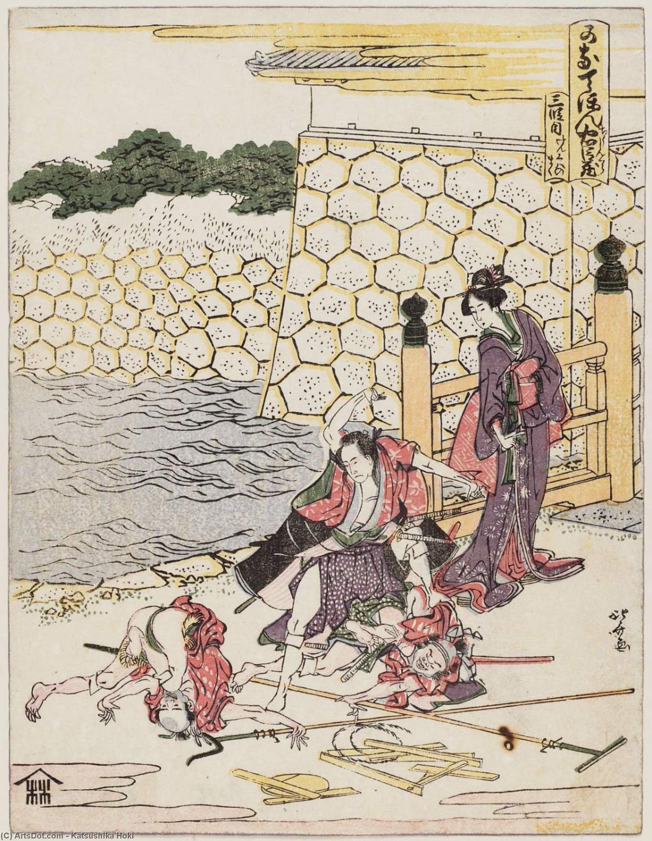 Scene Of The Quarrel by Katsushika Hokusai (1760-1849, Japan) | ArtsDot.com