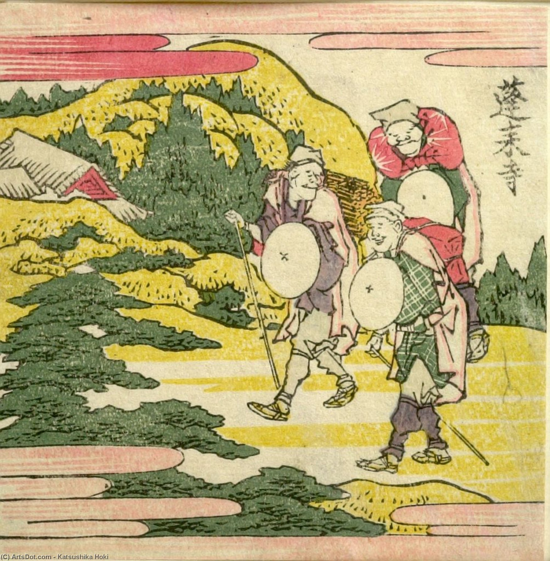 Three Men Traveling Along A Cliff by Katsushika Hokusai (1760-1849, Japan) | ArtsDot.com