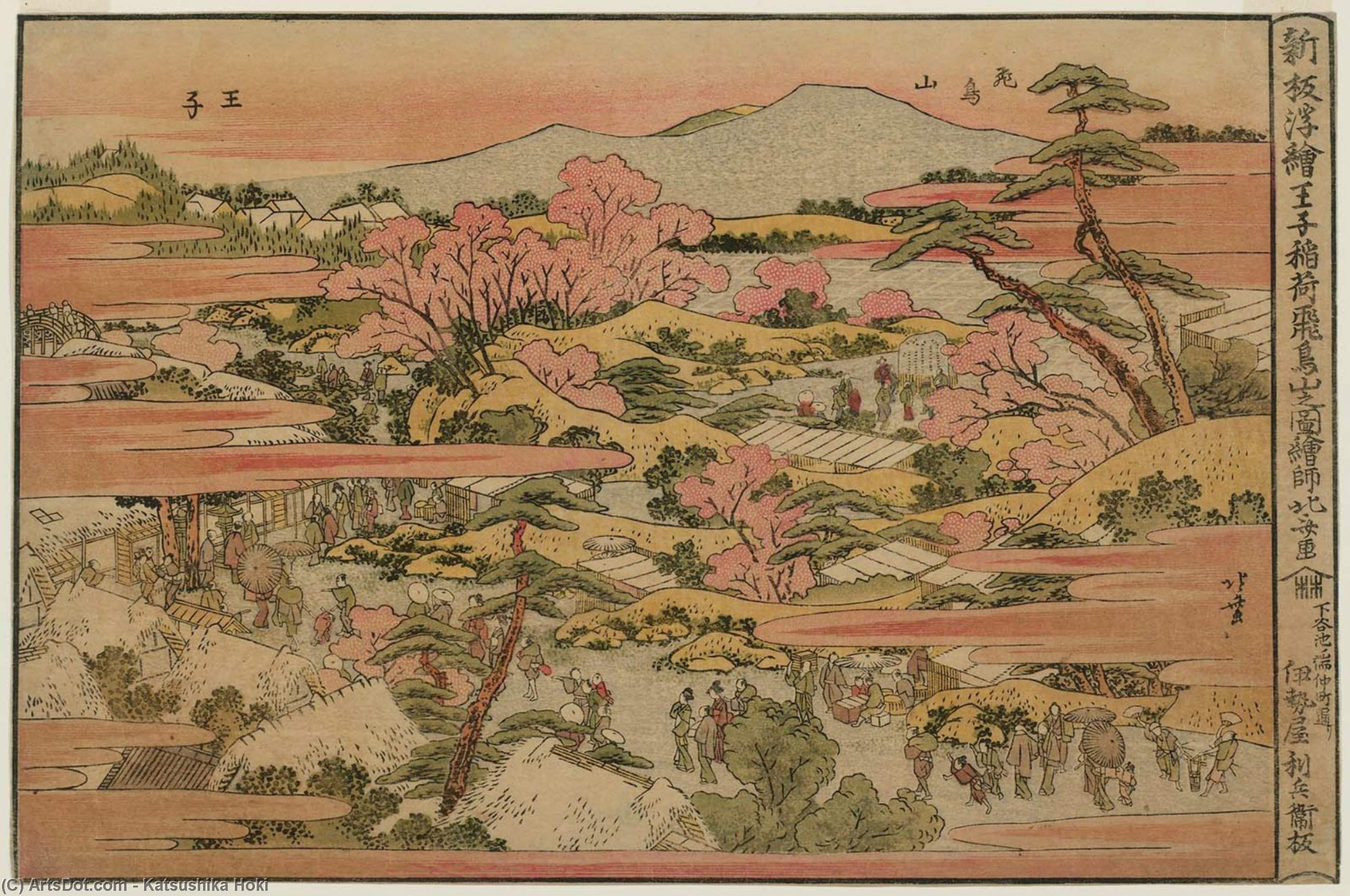 View Of The Inari Shrine At Ôji And Asuka Hill by Katsushika Hokusai (1760-1849, Japan) | Oil Painting | ArtsDot.com