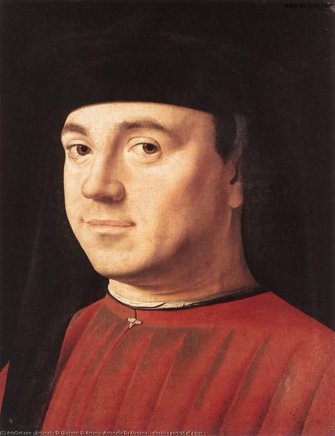 messina portrait of a man -, 1475 by Antonello Di Giovanni Di Antonio (Antonello Da Messina) (1430-1479, Italy) | Painting Copy | ArtsDot.com