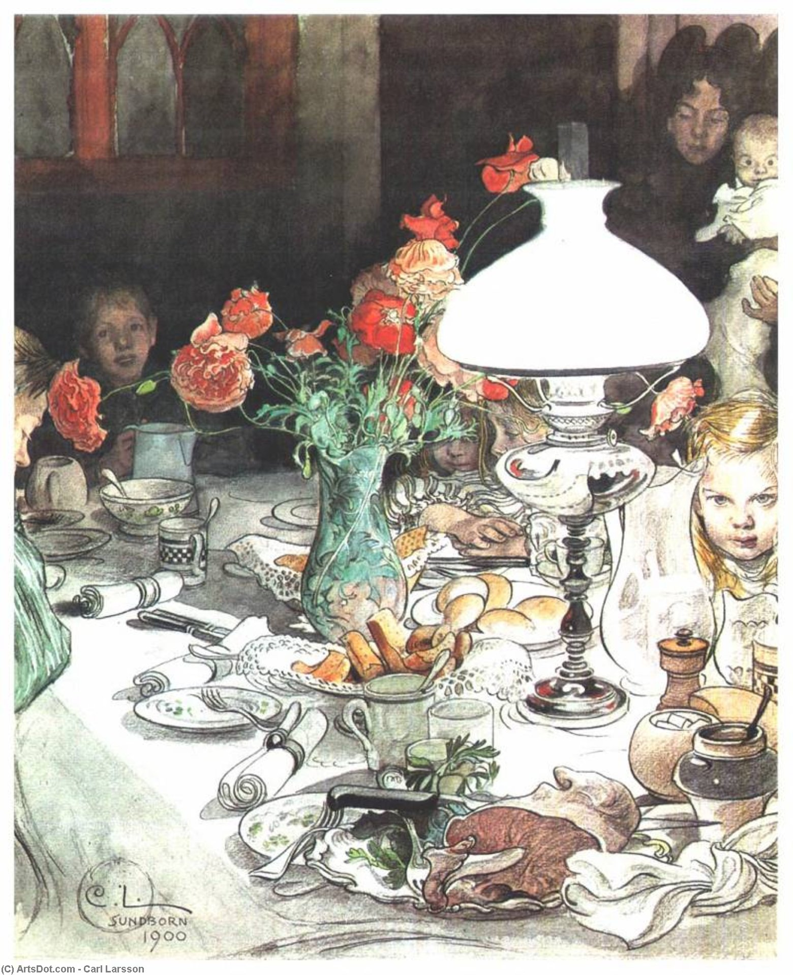 Around the lamp at evening, 1900 by Carl Larsson (1919-1919, Sweden) | Museum Quality Copies Carl Larsson | ArtsDot.com