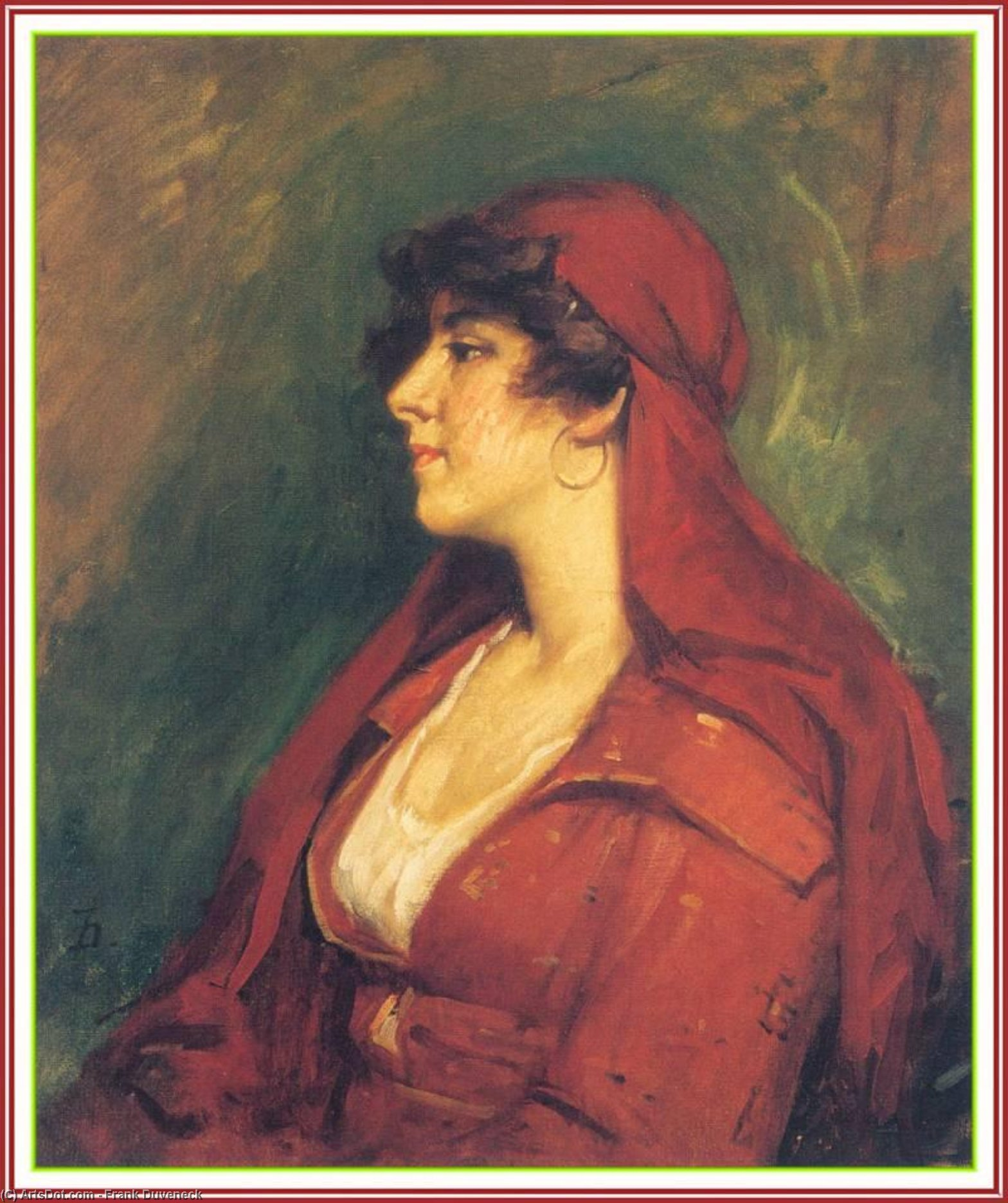 Lady in Red by Frank Duveneck (1848-1919, United States)