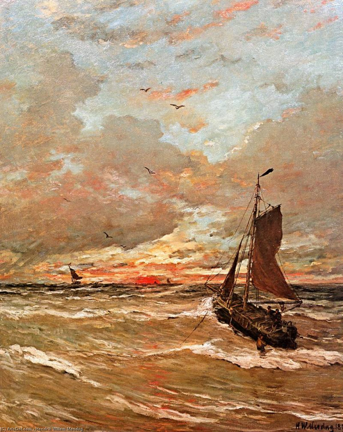sunset in stormy weather sun by Hendrik Willem Mesdag (1831-1915, Netherlands)