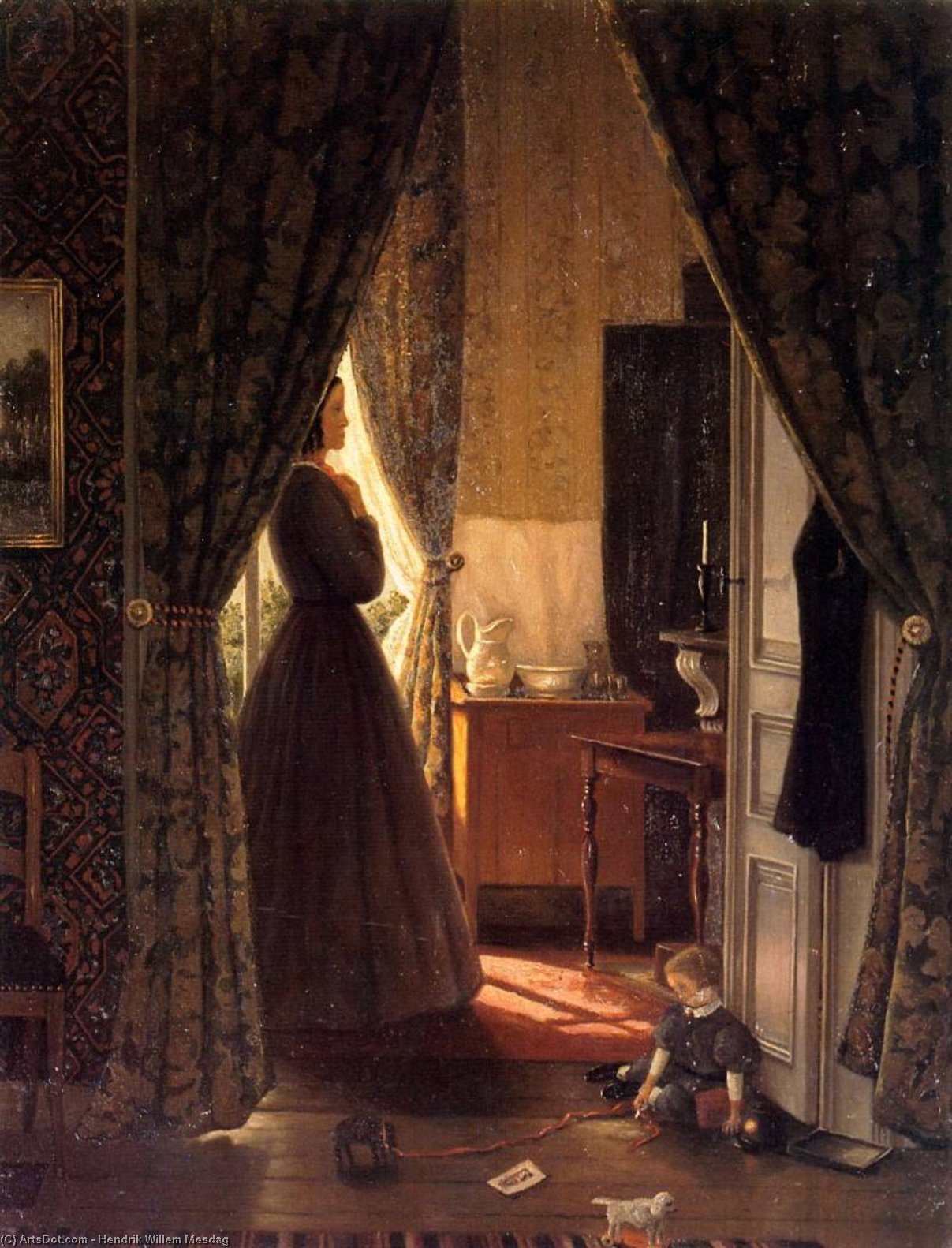 woman in interior sun by Hendrik Willem Mesdag (1831-1915, Netherlands)