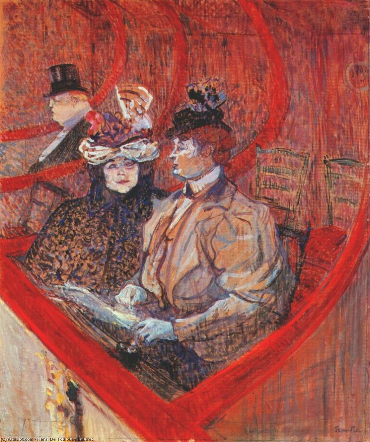 a box at the theater, 1897 by Henri De Toulouse Lautrec (1864-1901, France)