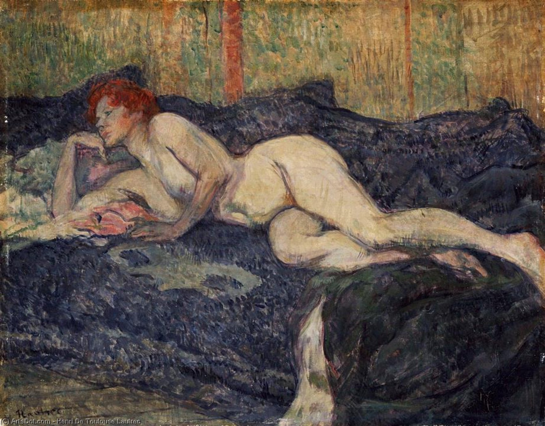 Reclining nude, 1897 by Henri De Toulouse Lautrec (1864-1901, France)
