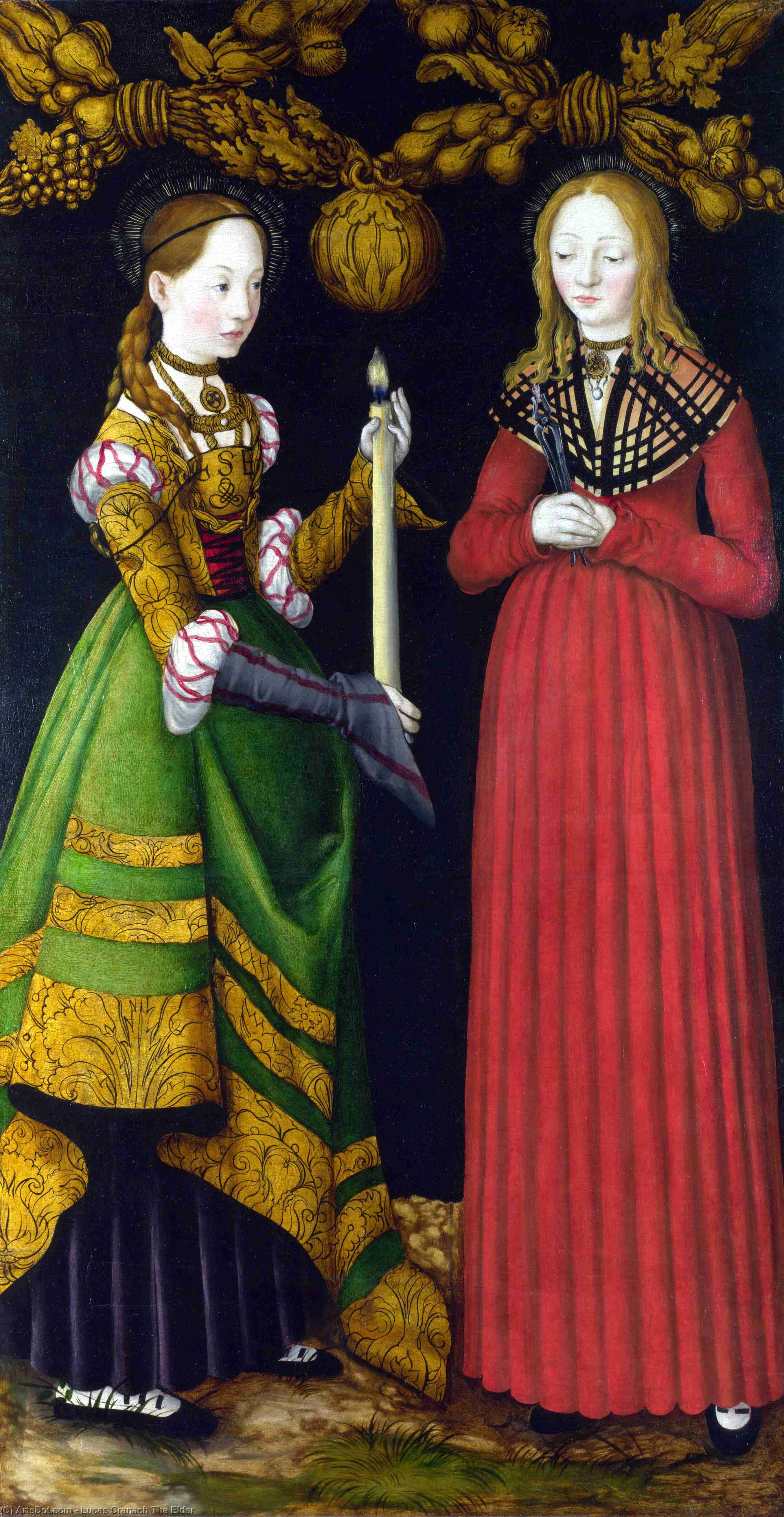 Saints Genevieve and Apollonia by Lucas Cranach The Elder (1472-1553, Germany)