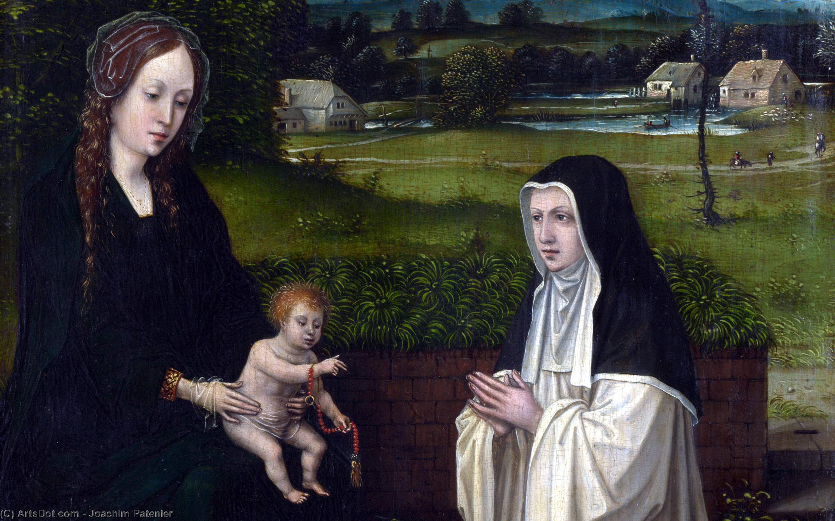 The Virgin and Child with a Cistercian by Joachim Patenier (1481-1524, Belgium)