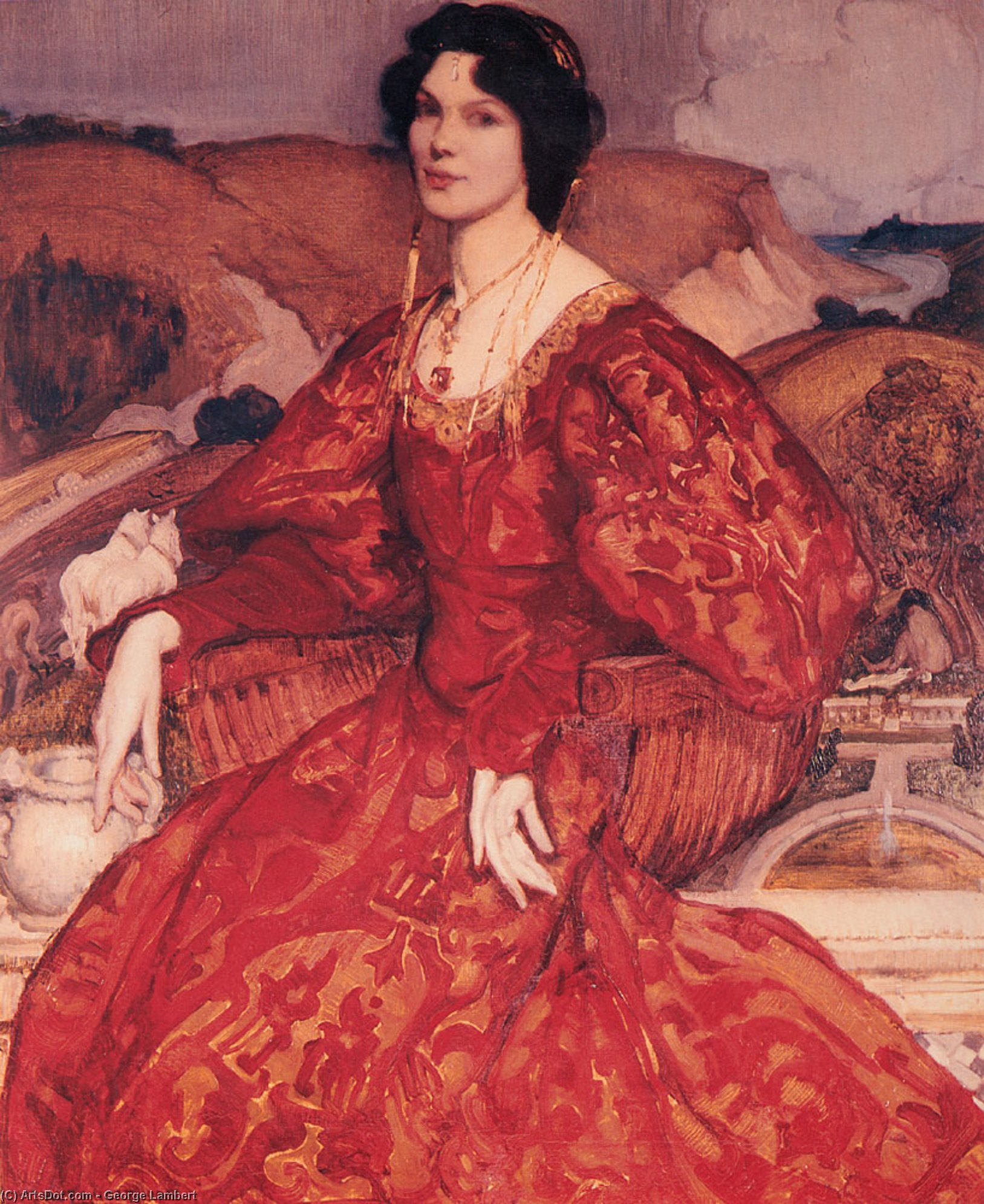 Sybil Walker in Red and Gold Dress by George Lambert (1873-1930, Russia) | ArtsDot.com