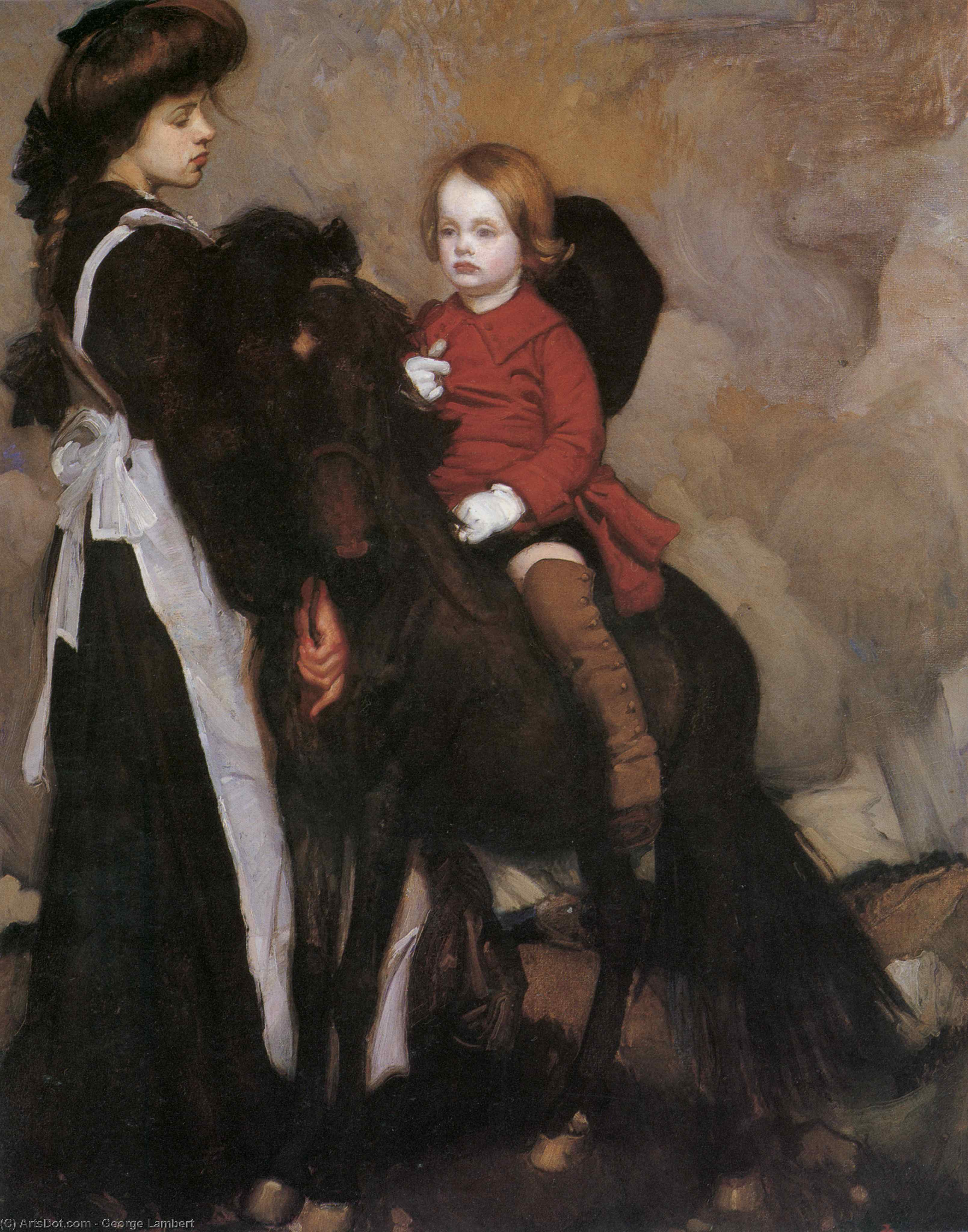 Lmabert Equestrian Portrait of a Boy by George Lambert (1873-1930, Russia)