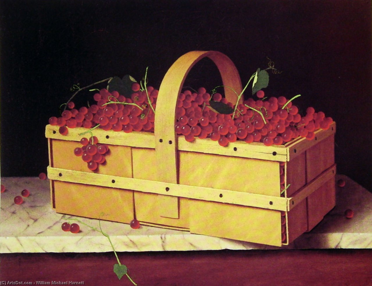 A Wooden Basket of Catawba-Grapes by William Michael Harnett (1848-1892, Ireland)