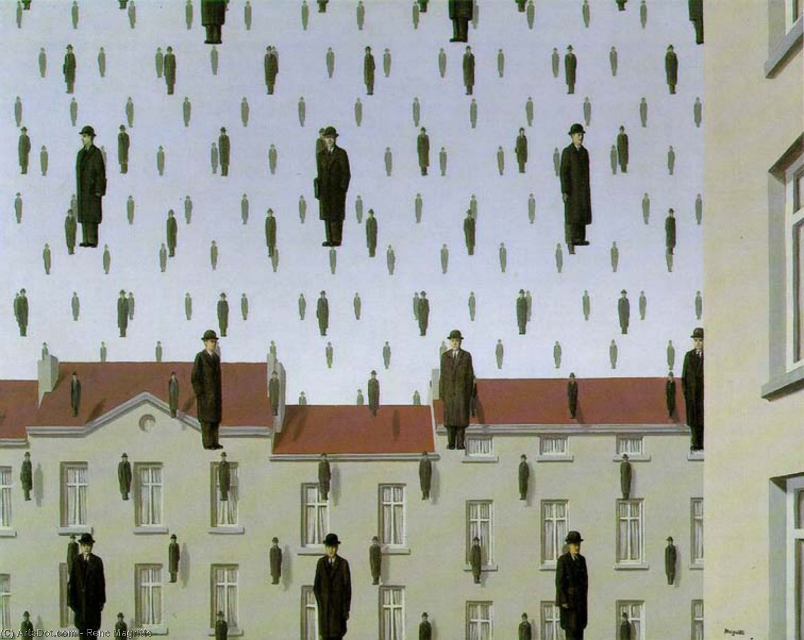 Golconde the menil collection, houston, texas, 1953 by Rene Magritte (1898-1967, Belgium)