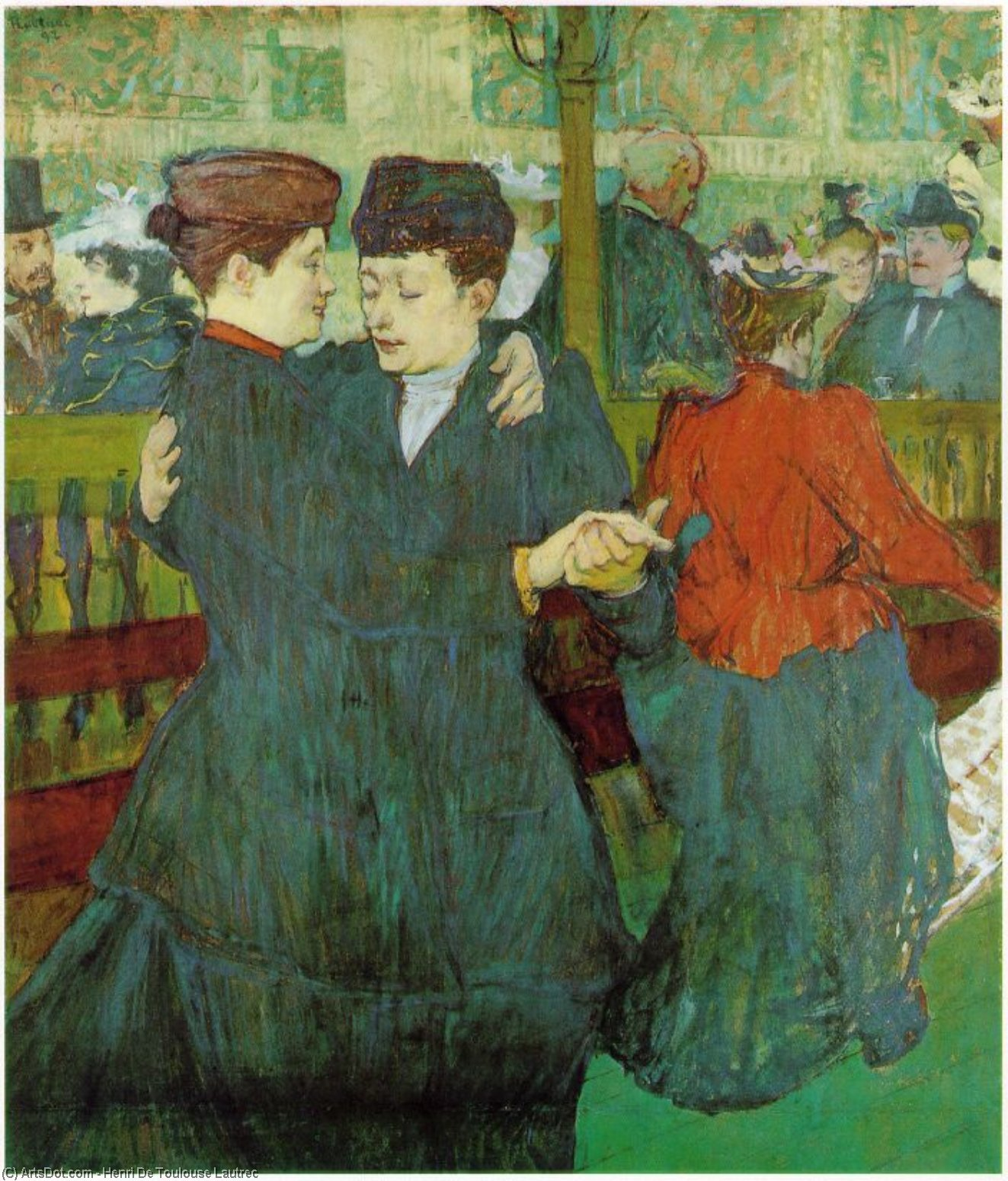 At the Moulin Rouge_ Two Women Waltzing, - (18) by Henri De Toulouse Lautrec (1864-1901, France)