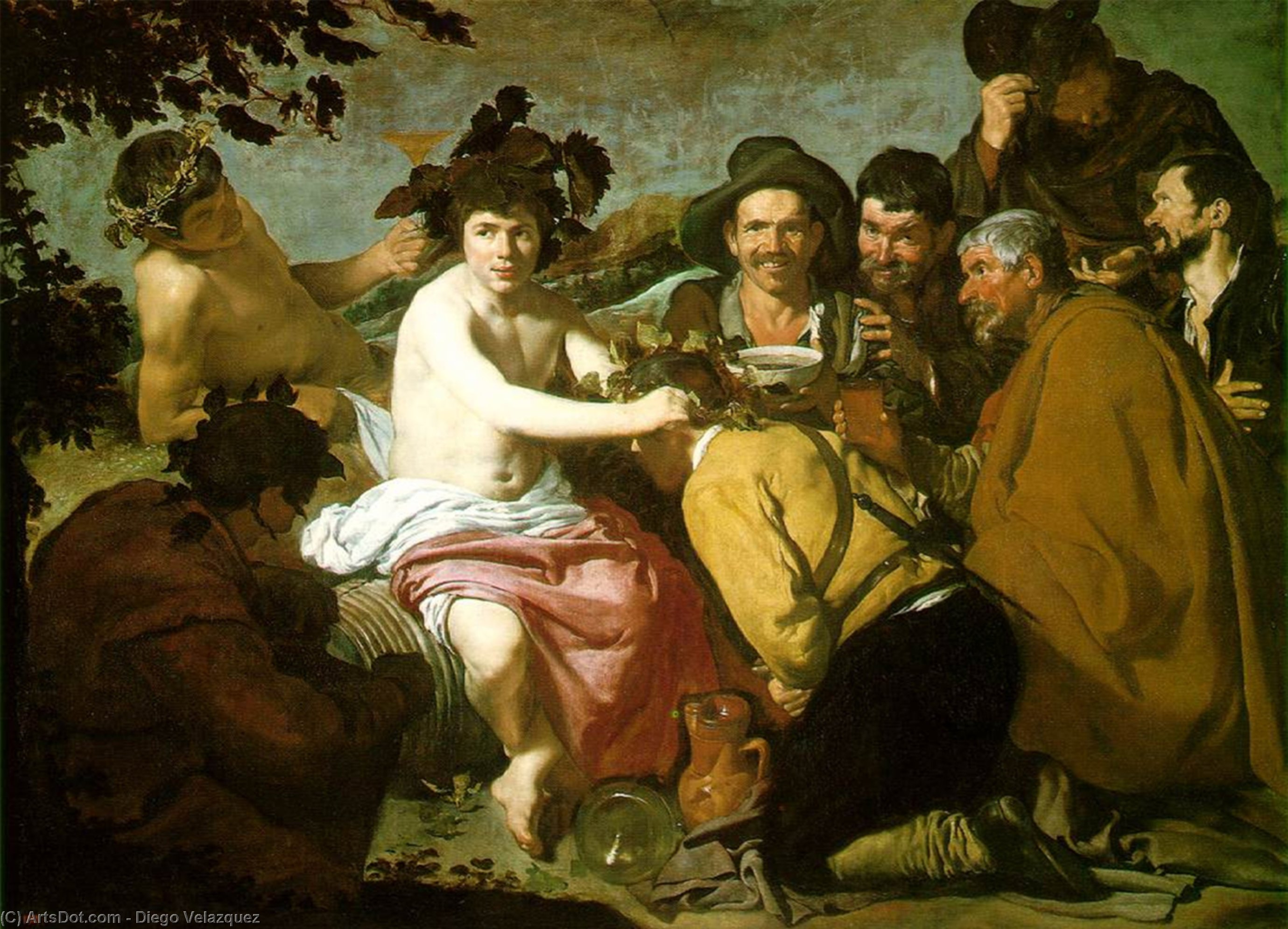 Feast bacchus by Diego Velazquez (1599-1660, Spain)