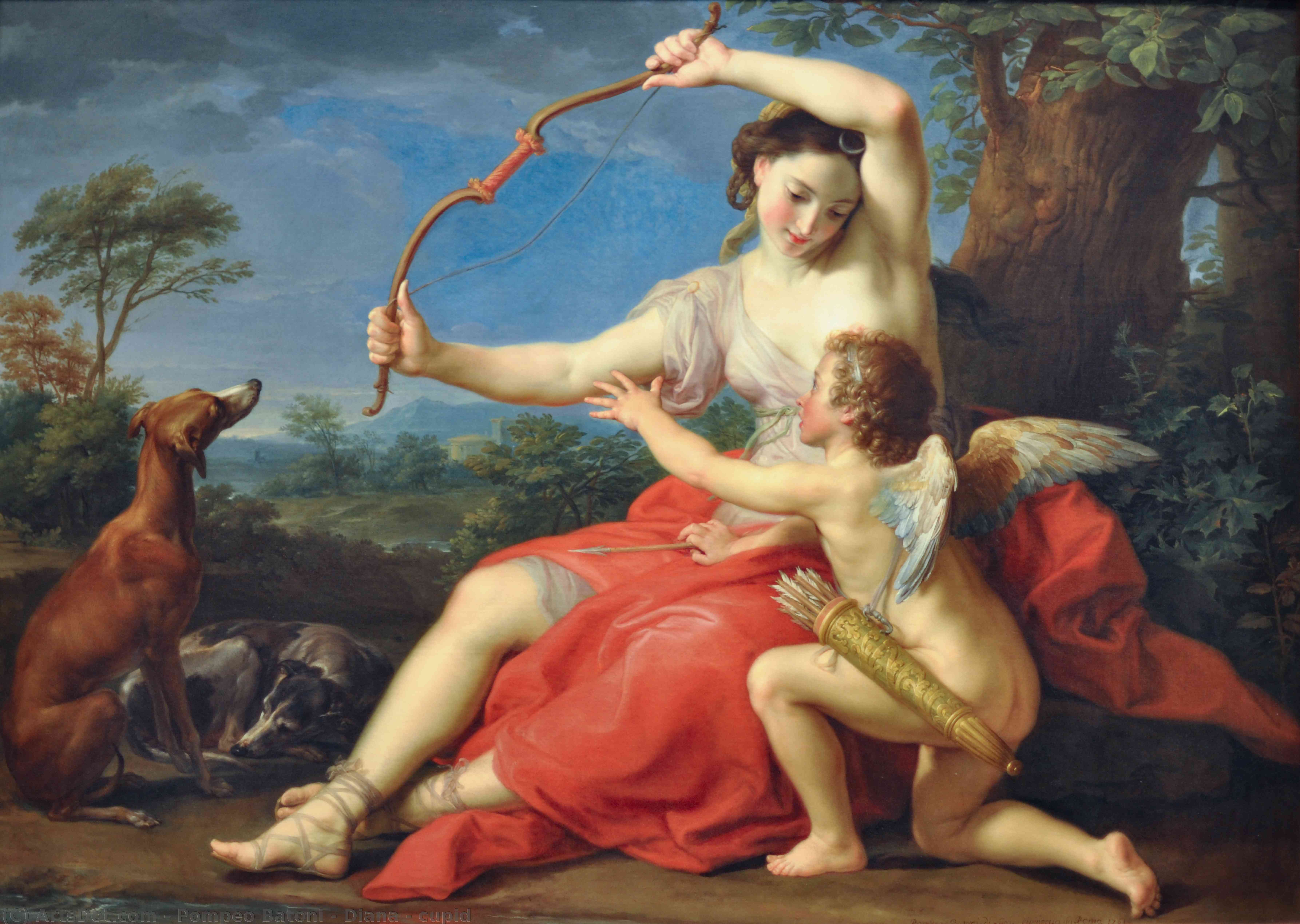 Order Paintings Reproductions | Diana and Cupid, 1761 by Pompeo Batoni (1708-1787, Italy) | ArtsDot.com
