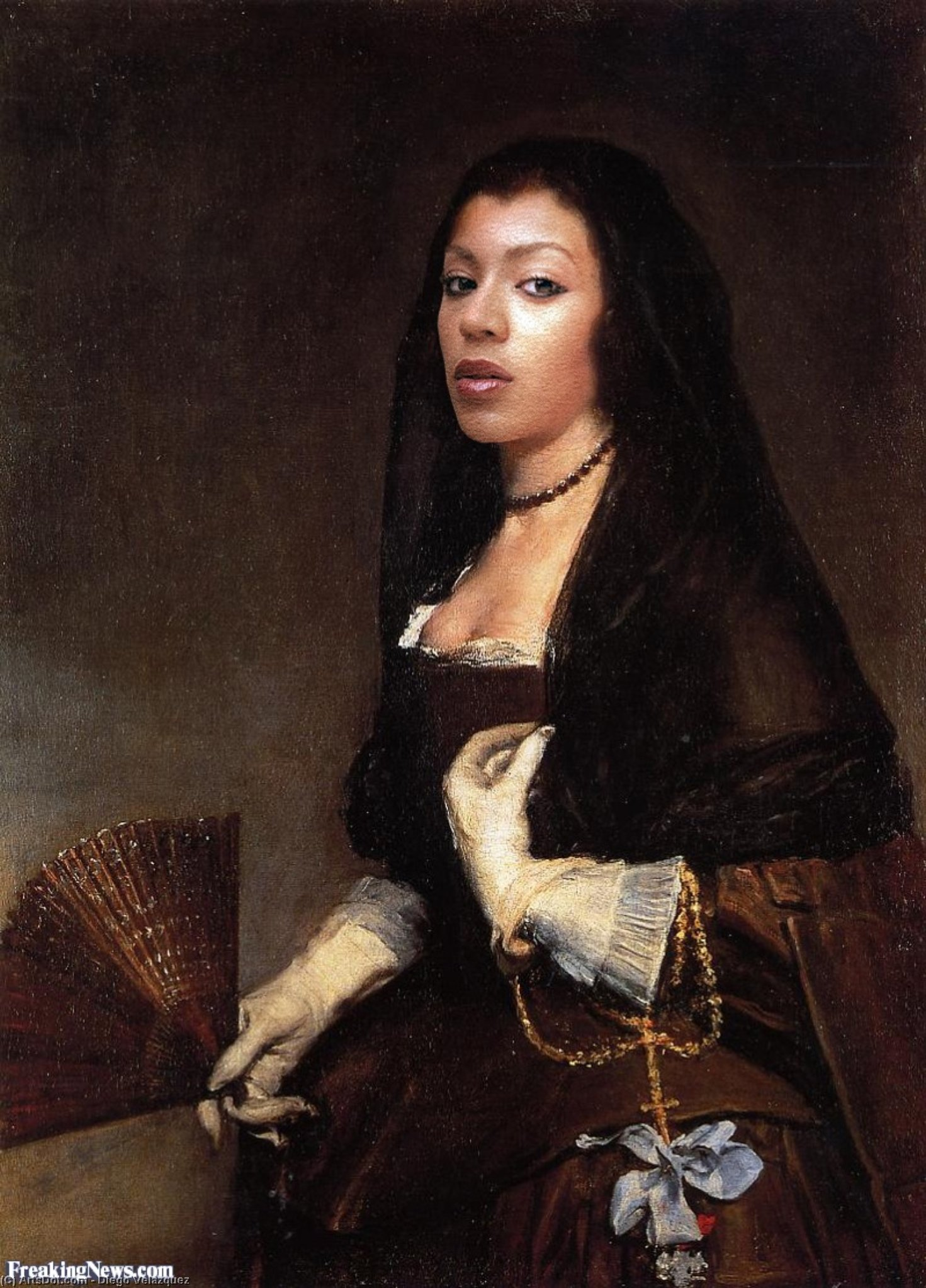 Lady with a Fan by Diego Velazquez (1599-1660, Spain)