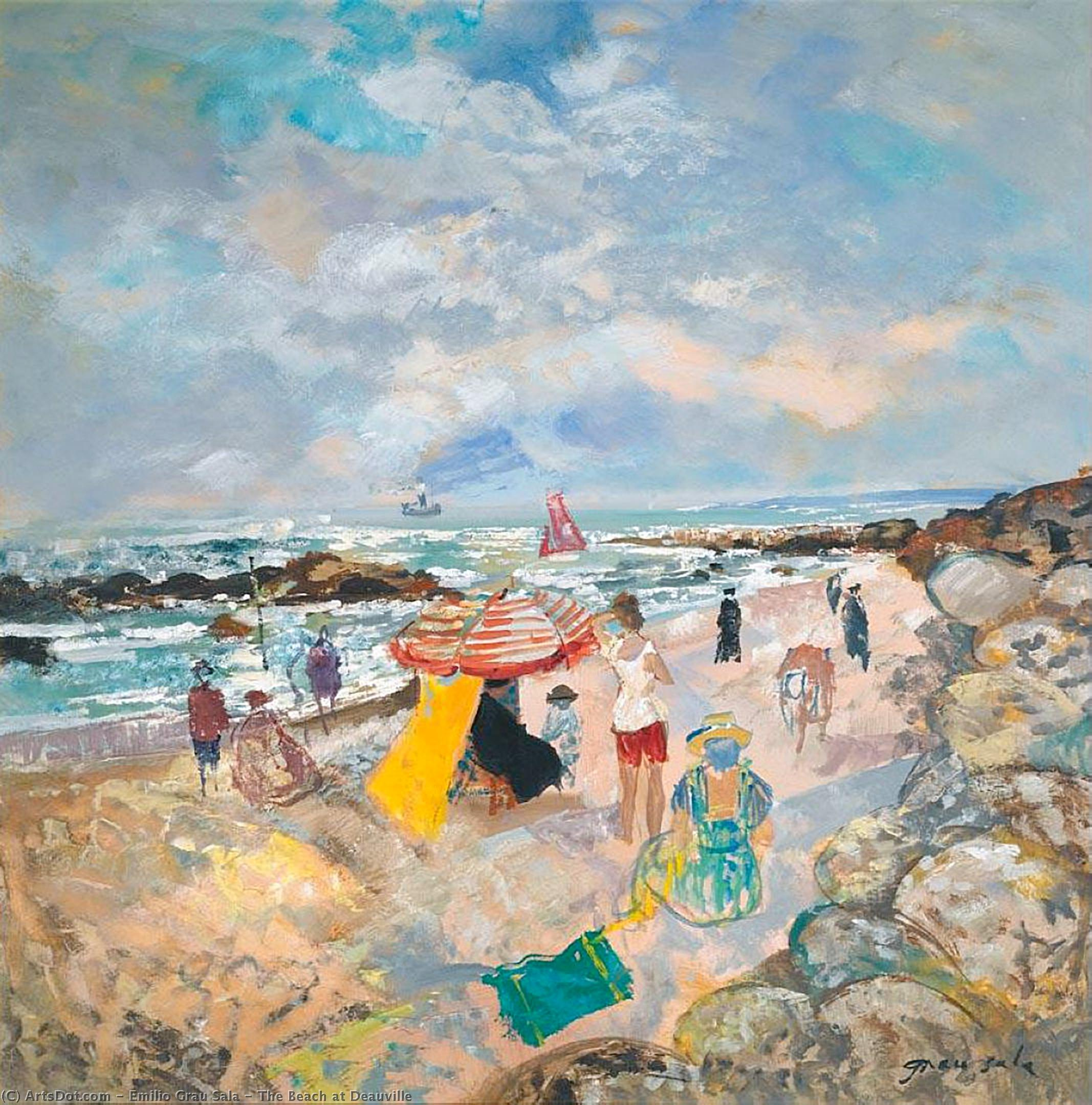 The Beach at Deauville by Emilio Grau Sala (1911-1975) | Art Reproduction | ArtsDot.com