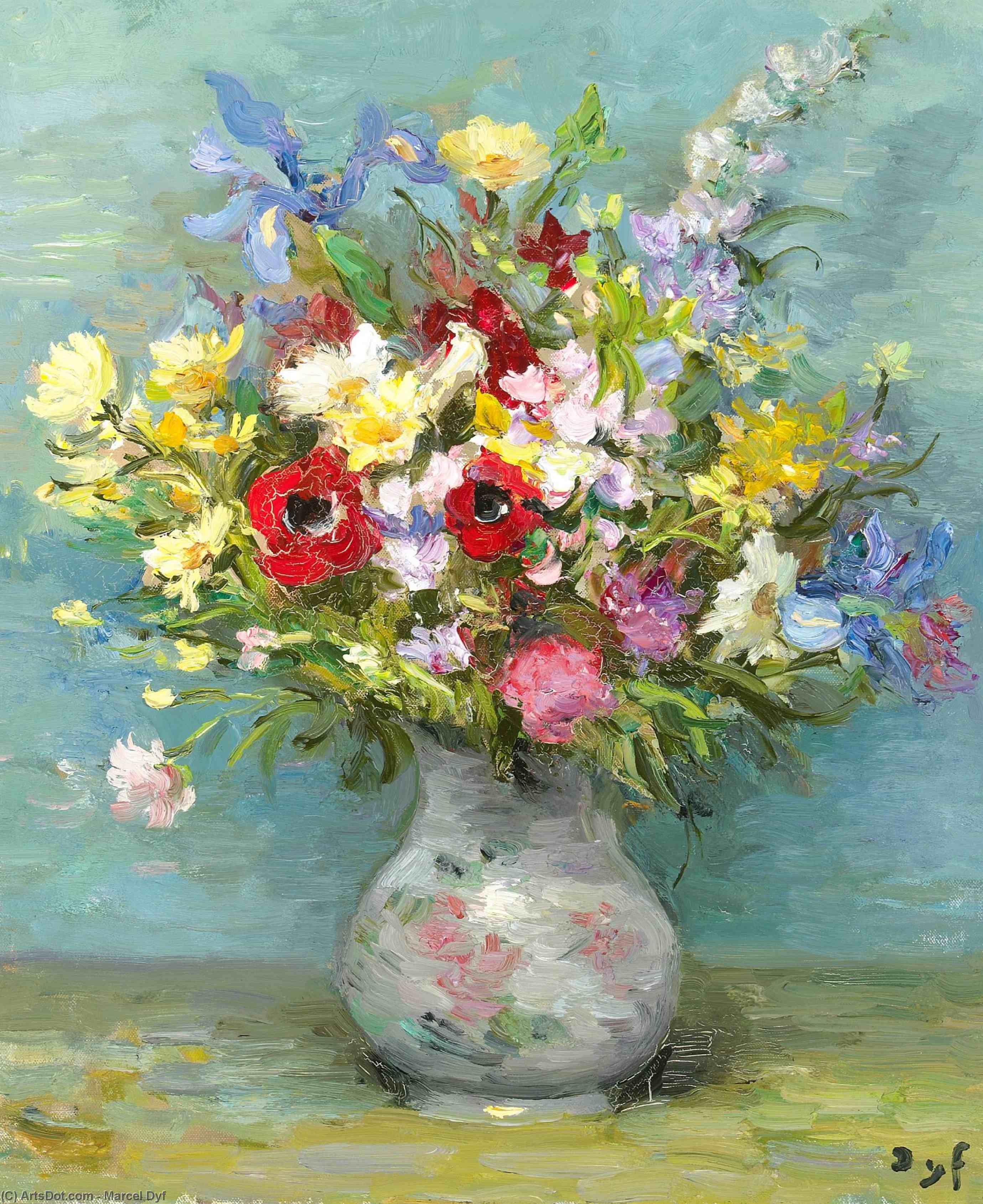 Anemones and Daisies, (1974) by Marcel Dyf (1899-1985, France) | Museum Quality Reproductions | ArtsDot.com