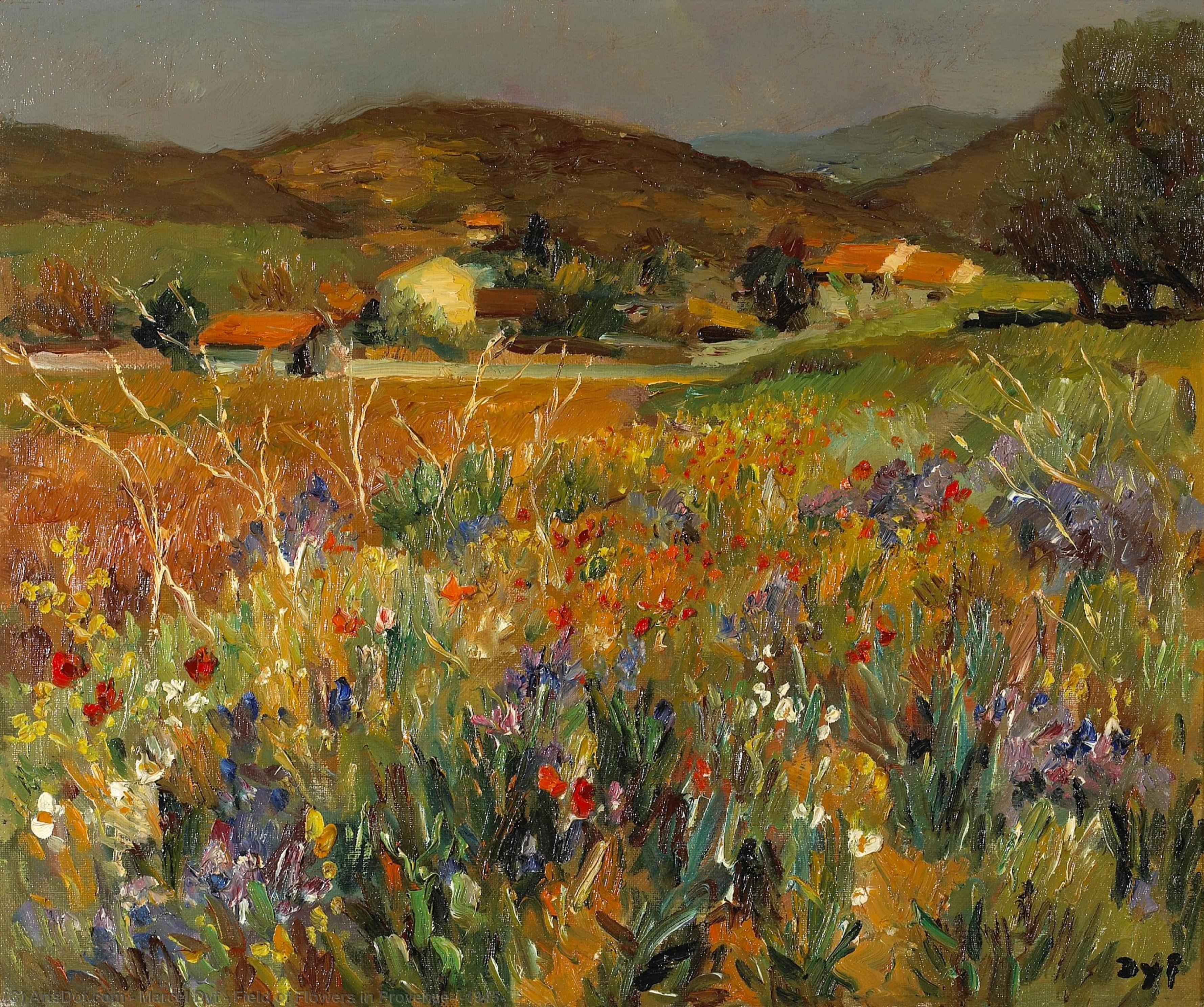 Field of Flowers in Provence, (1945) by Marcel Dyf (1899-1985, France) | Museum Quality Reproductions | ArtsDot.com