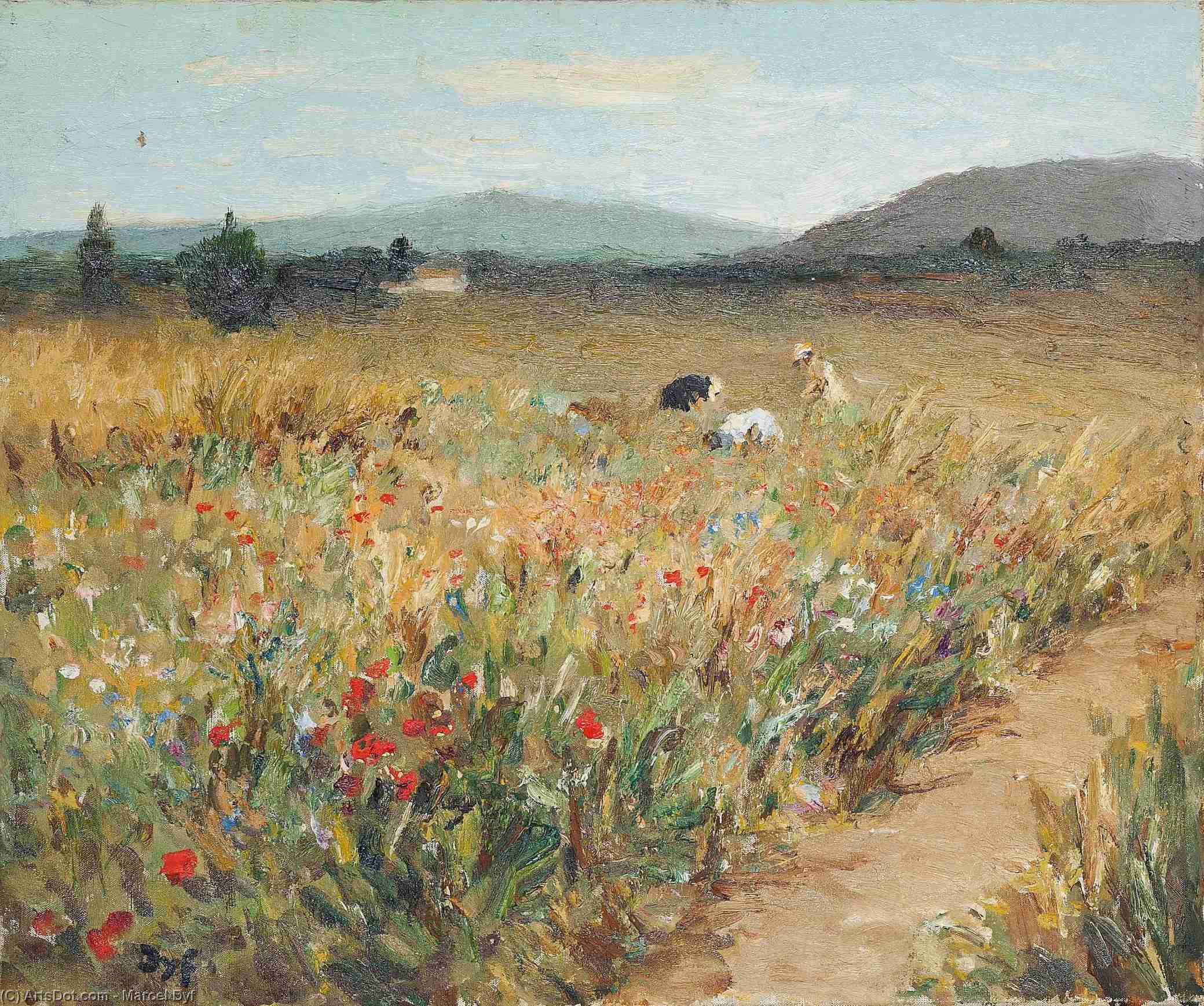 Figures among the Flowers in Provence, (1950) by Marcel Dyf (1899-1985, France) | Oil Painting | ArtsDot.com
