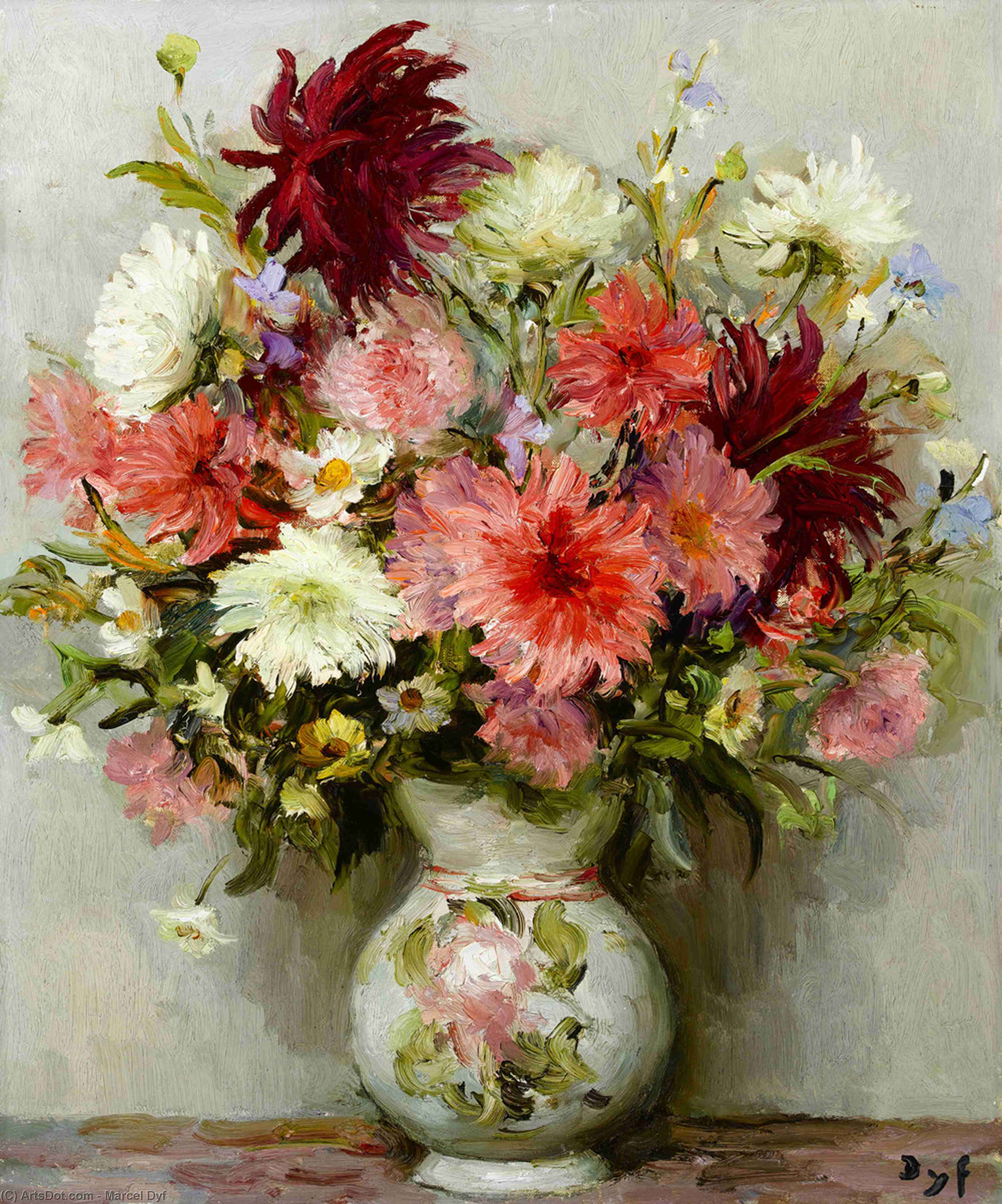 Pink dahlias by Marcel Dyf (1899-1985, France) | Painting Copy | ArtsDot.com