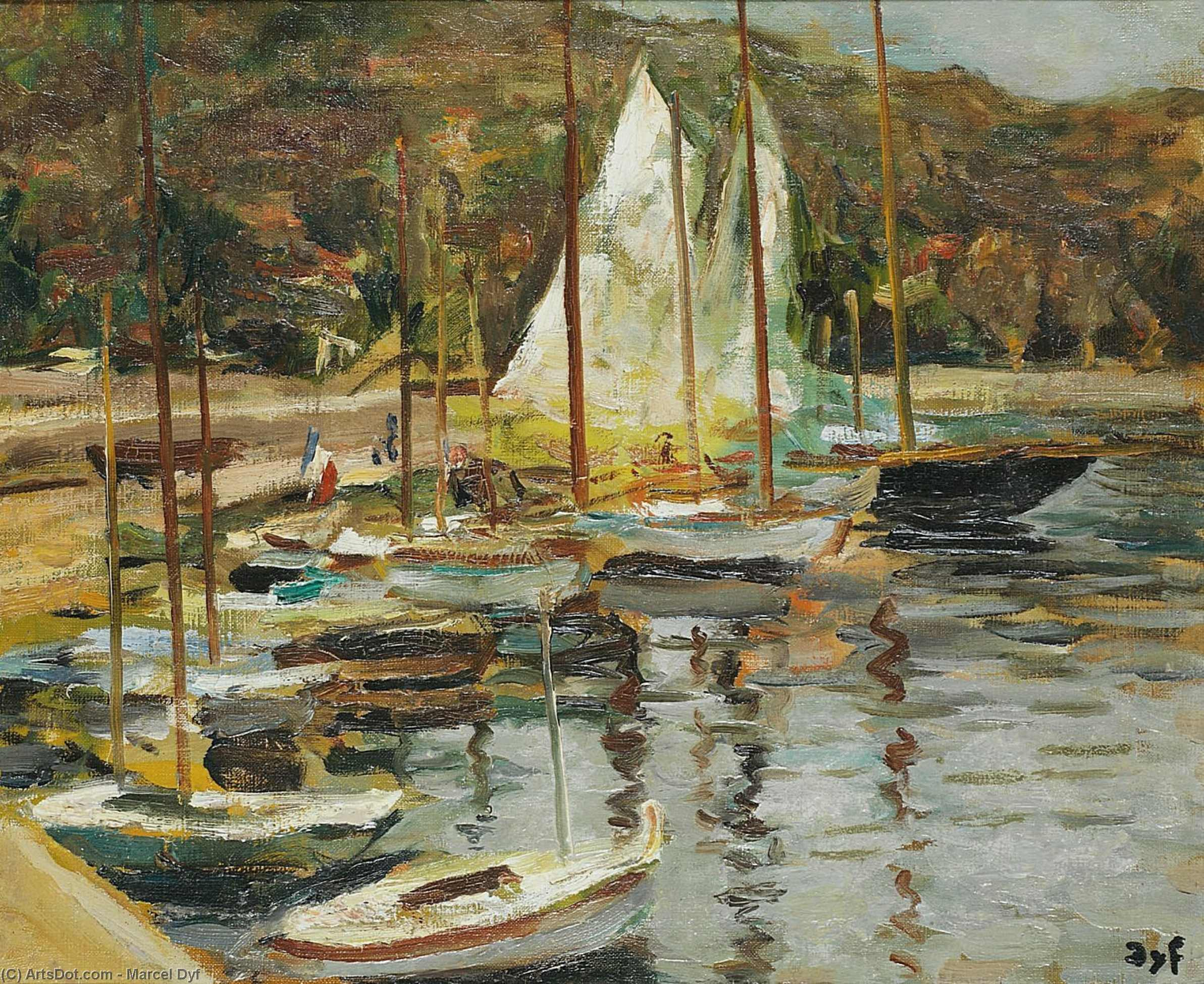 The small port, (1950) by Marcel Dyf (1899-1985, France)
