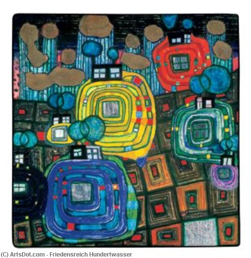 Pavilions and Bungalows for Natives and Foreigners by Friedensreich Hundertwasser (1928-2000, Austria) | Museum Art Reproductions | ArtsDot.com
