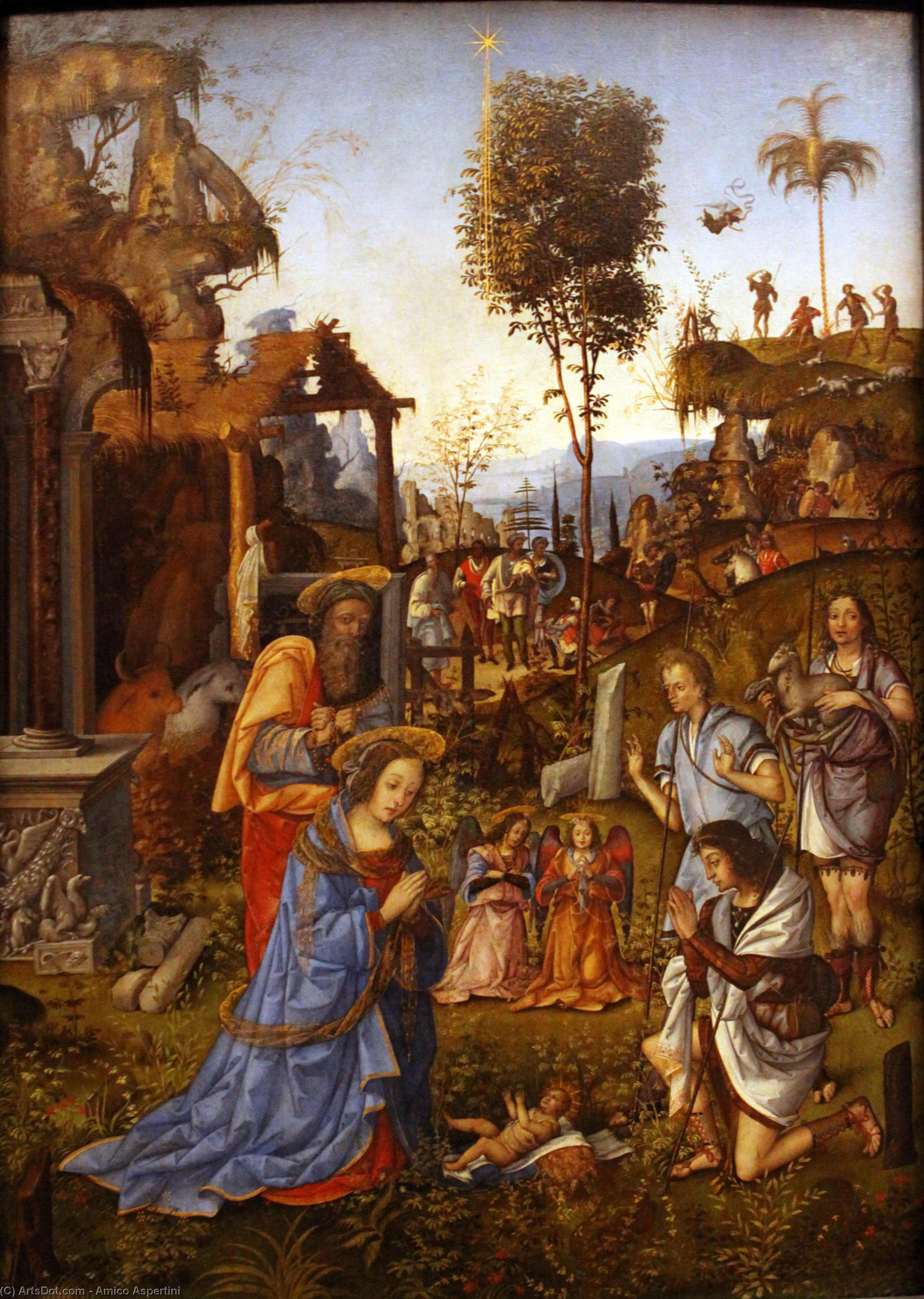 The Adoration of the Shepherds by Amico Aspertini (1475-1552, Italy) | Paintings Reproductions Amico Aspertini | ArtsDot.com