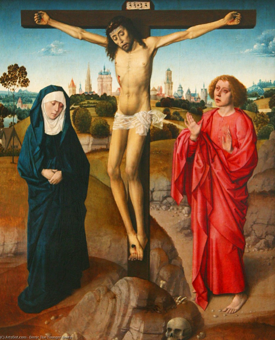 Crucifixion by Dieric The Younger Bouts (1448-1491, Belgium)