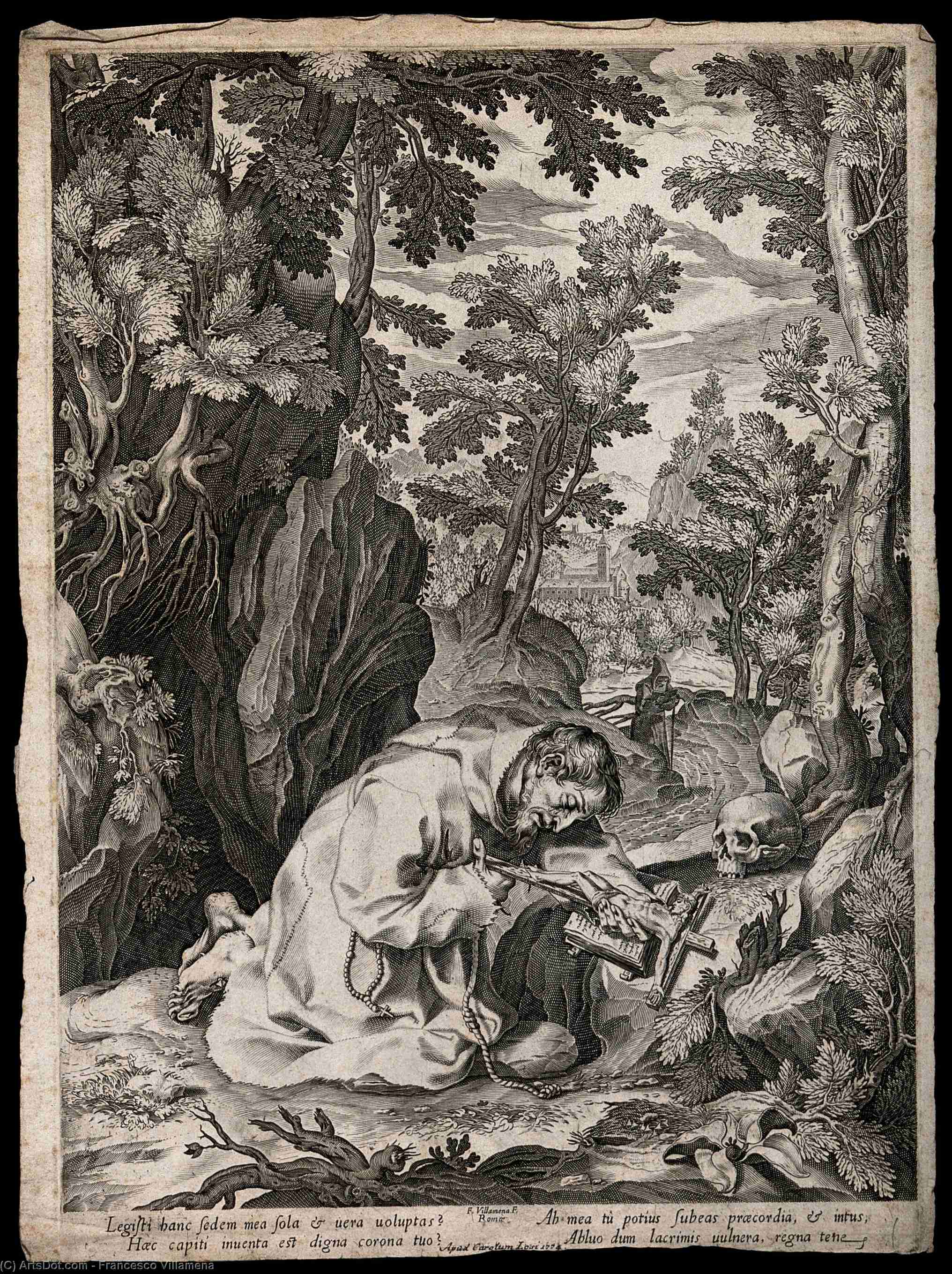 Saint Francis of Assisi by Francesco Villamena (1564-1624, Italy) | Museum Quality Copies Francesco Villamena | ArtsDot.com
