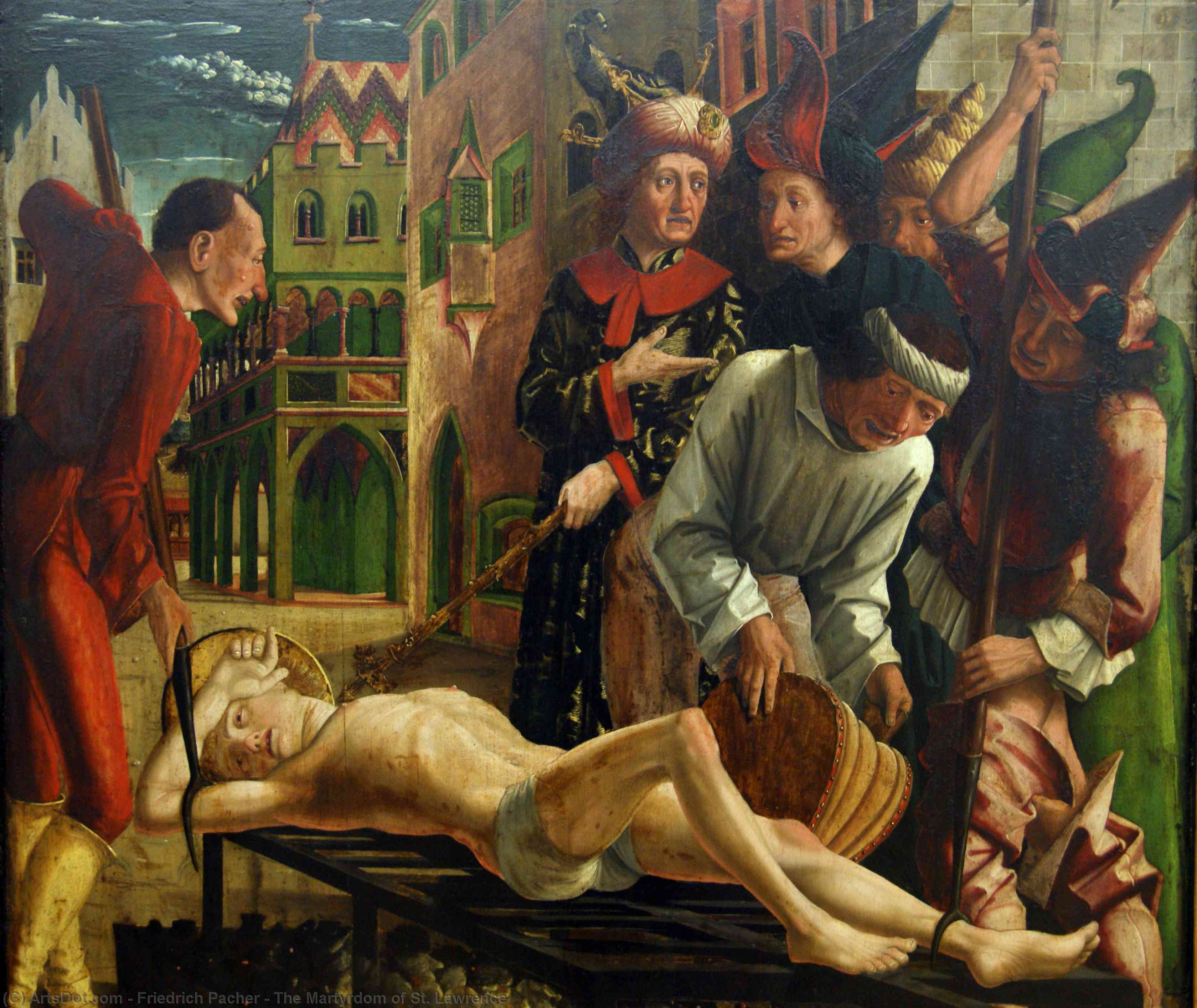 The Martyrdom of St. Lawrence by Friedrich Pacher (1474-1508, Italy) | Painting Copy | ArtsDot.com