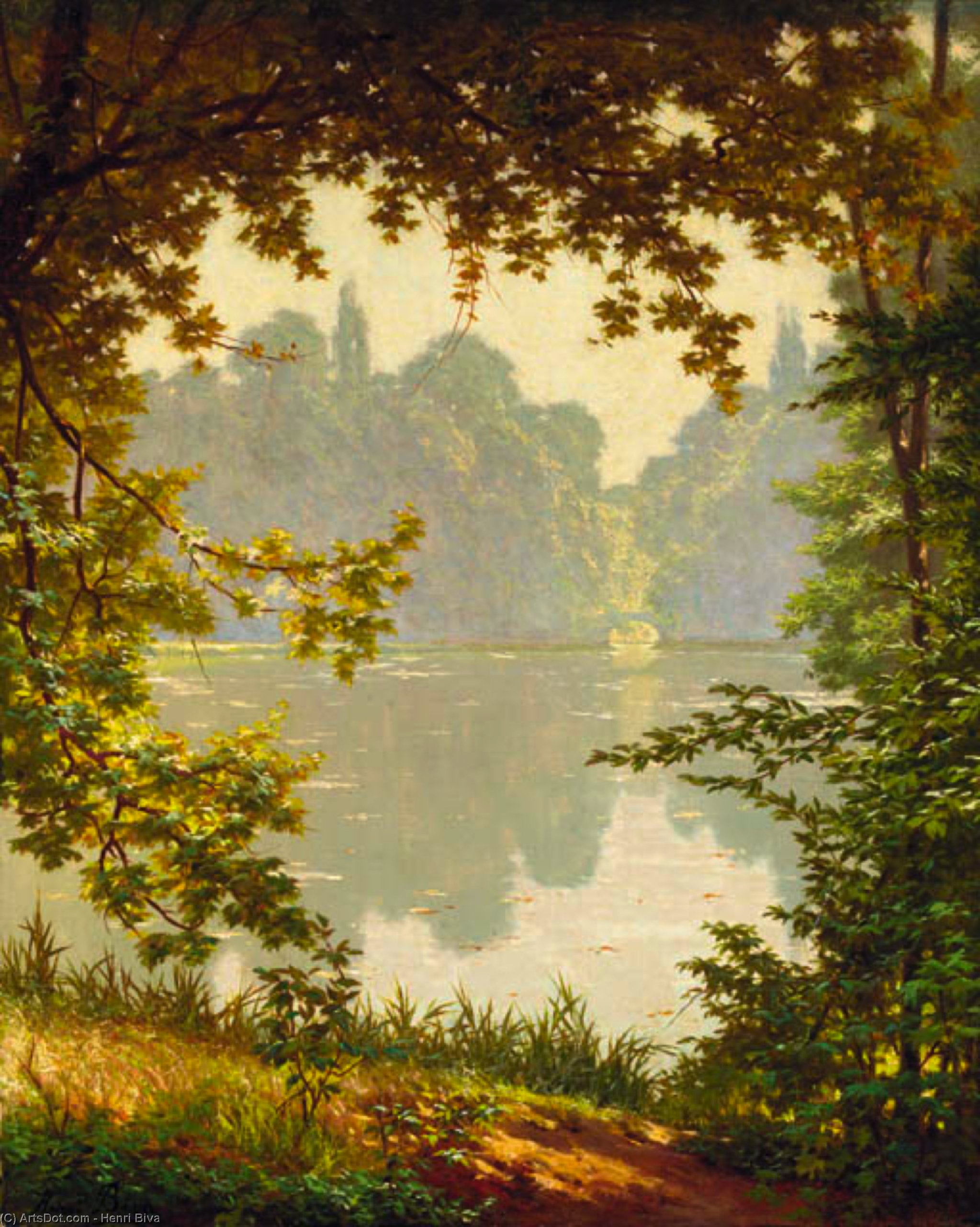 Looking out onto a lake on a summer day by Henri Biva (1848-1929, France)