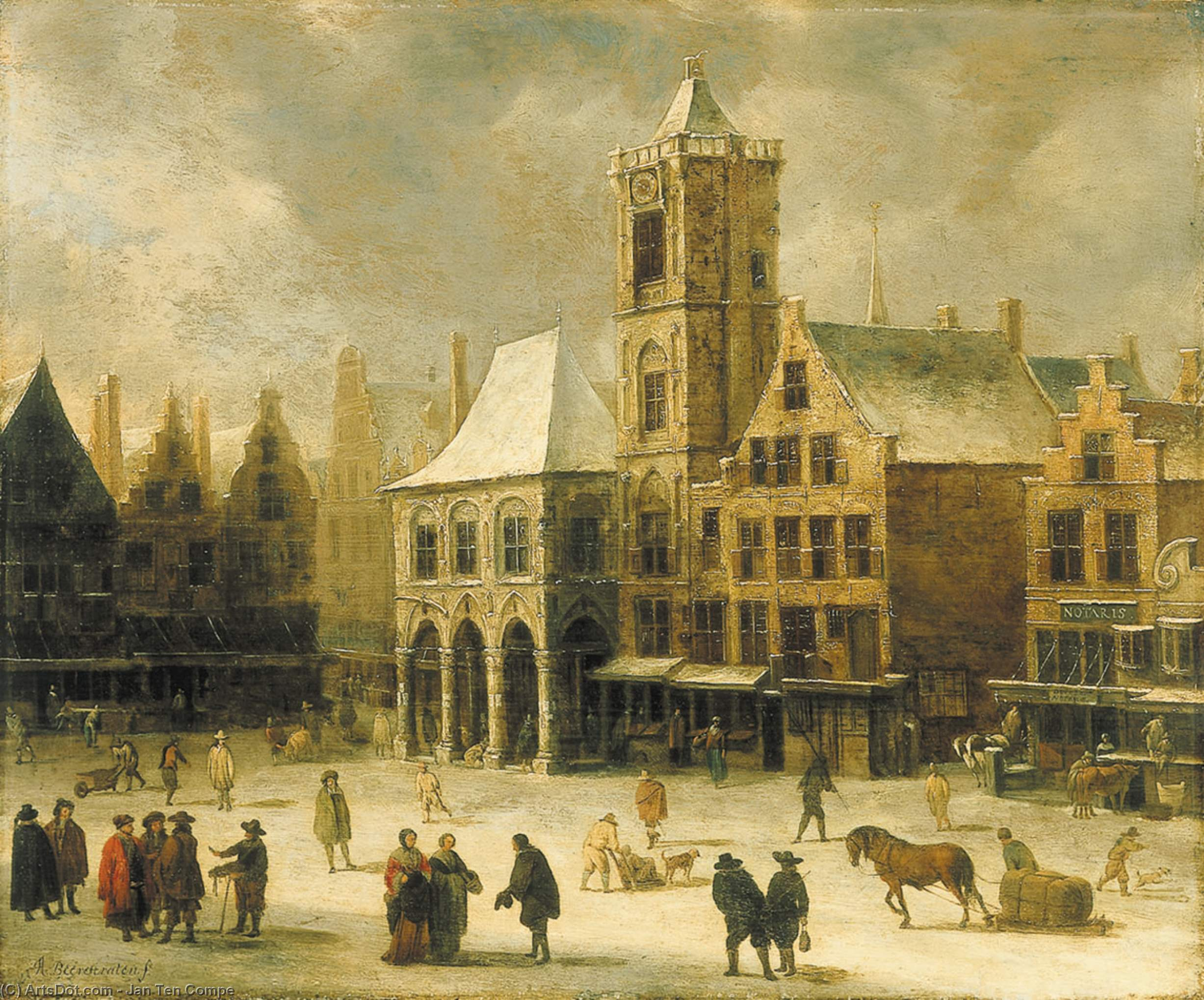 The Beguine with the English Church-The Beguine with the English Reformed Church by Jan Ten Compe (1713-1761, Netherlands)