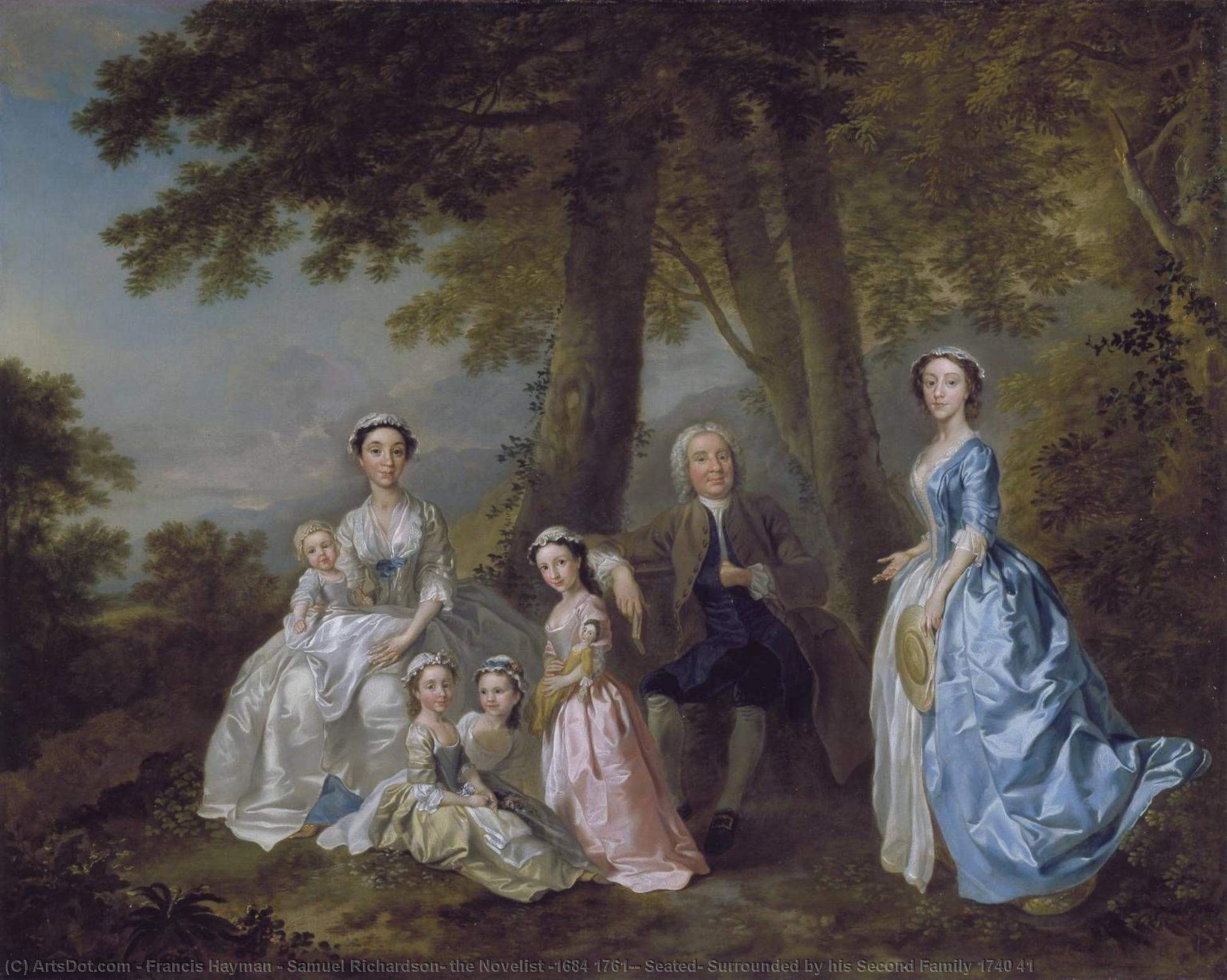 Samuel Richardson, the Novelist (1684 1761), Seated, Surrounded by his Second Family 1740 41, 1776 by Francis Hayman (1708-1776, United Kingdom) | Painting Copy | ArtsDot.com