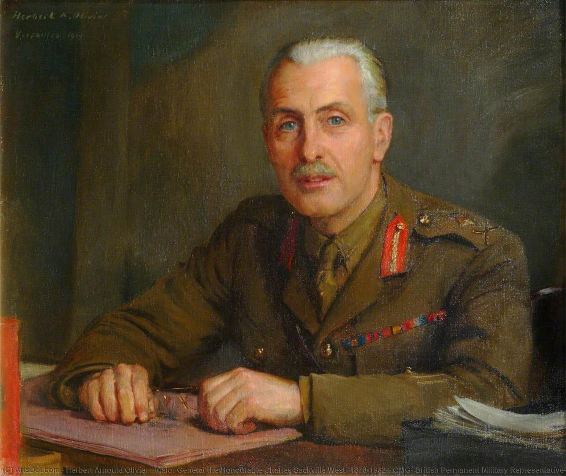 Major General the Honourable Charles Sackville West (1870–1962), CMG, British Permanent Military Representative, Supreme War Council, Versailles, 1919 by Herbert Arnould Olivier | Painting Copy | ArtsDot.com